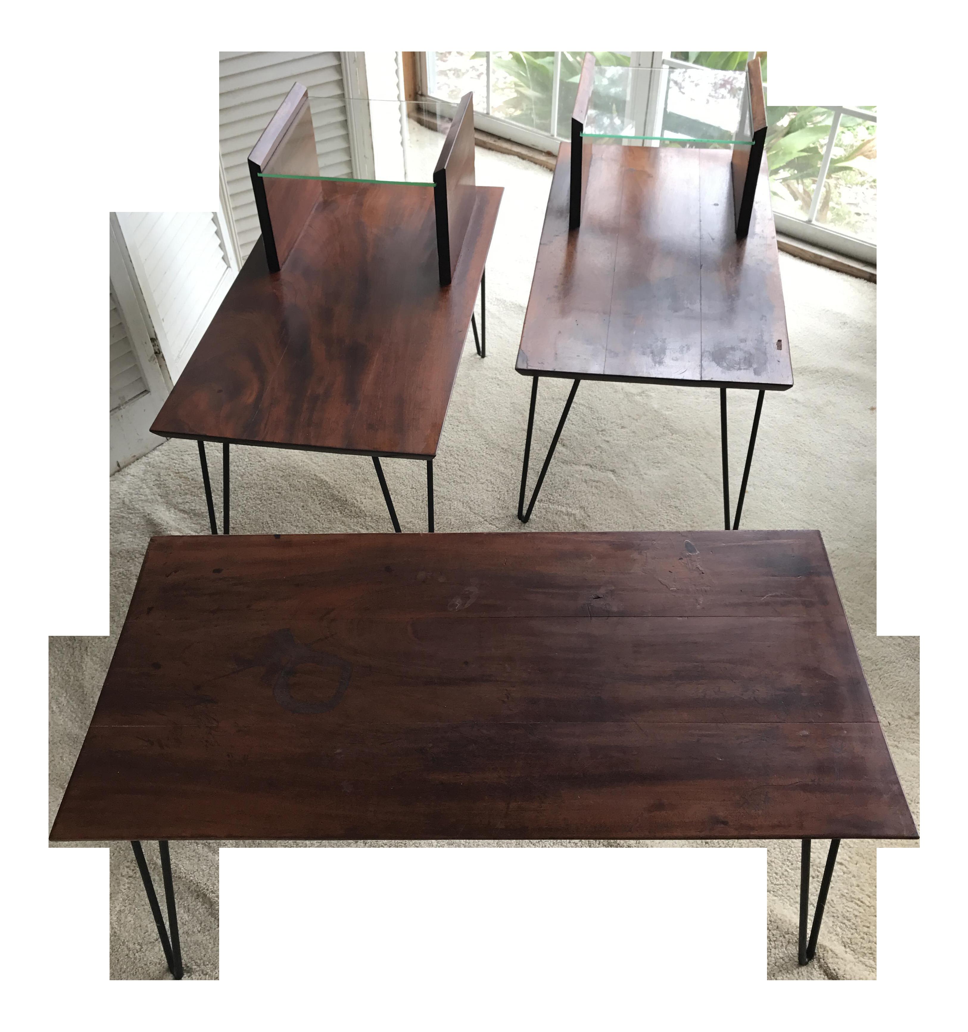 mcm mahogany coffee & end tables -designer raymond loewy 1960's