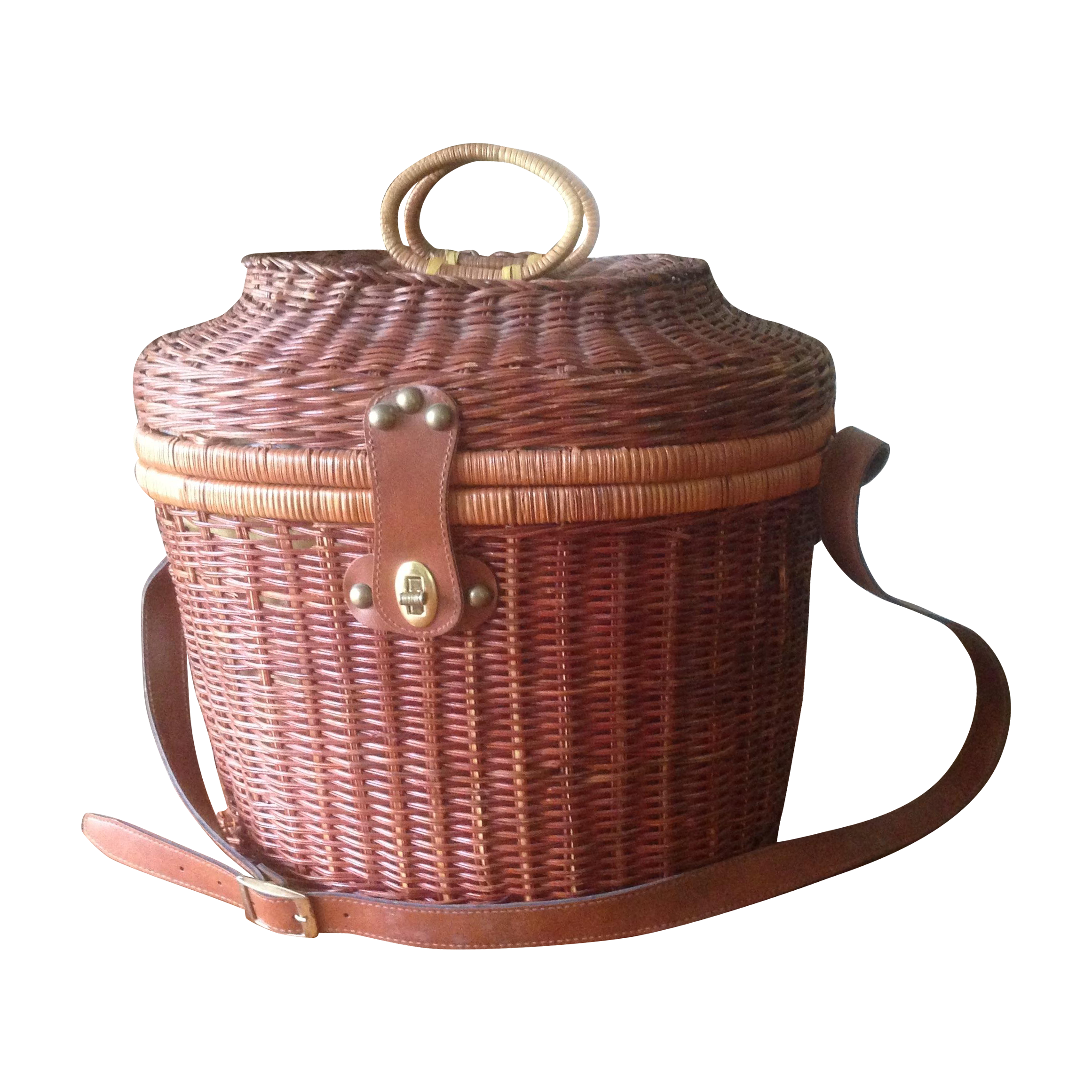 Myer Wicker Picnic Basket : Vintage wicker leather picnic basket chairish
