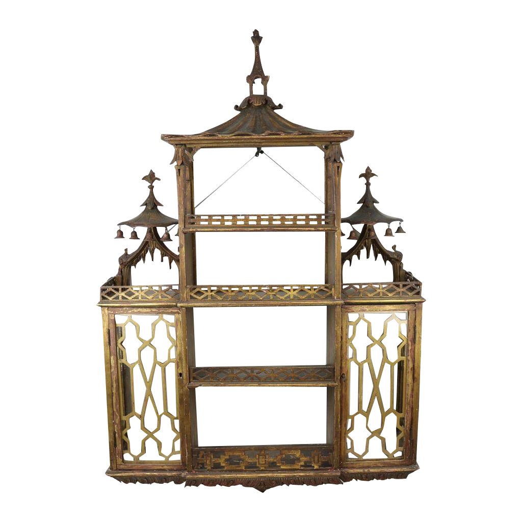 Chinese Chippendale Hanging Pagoda Wall Shelf Chairish