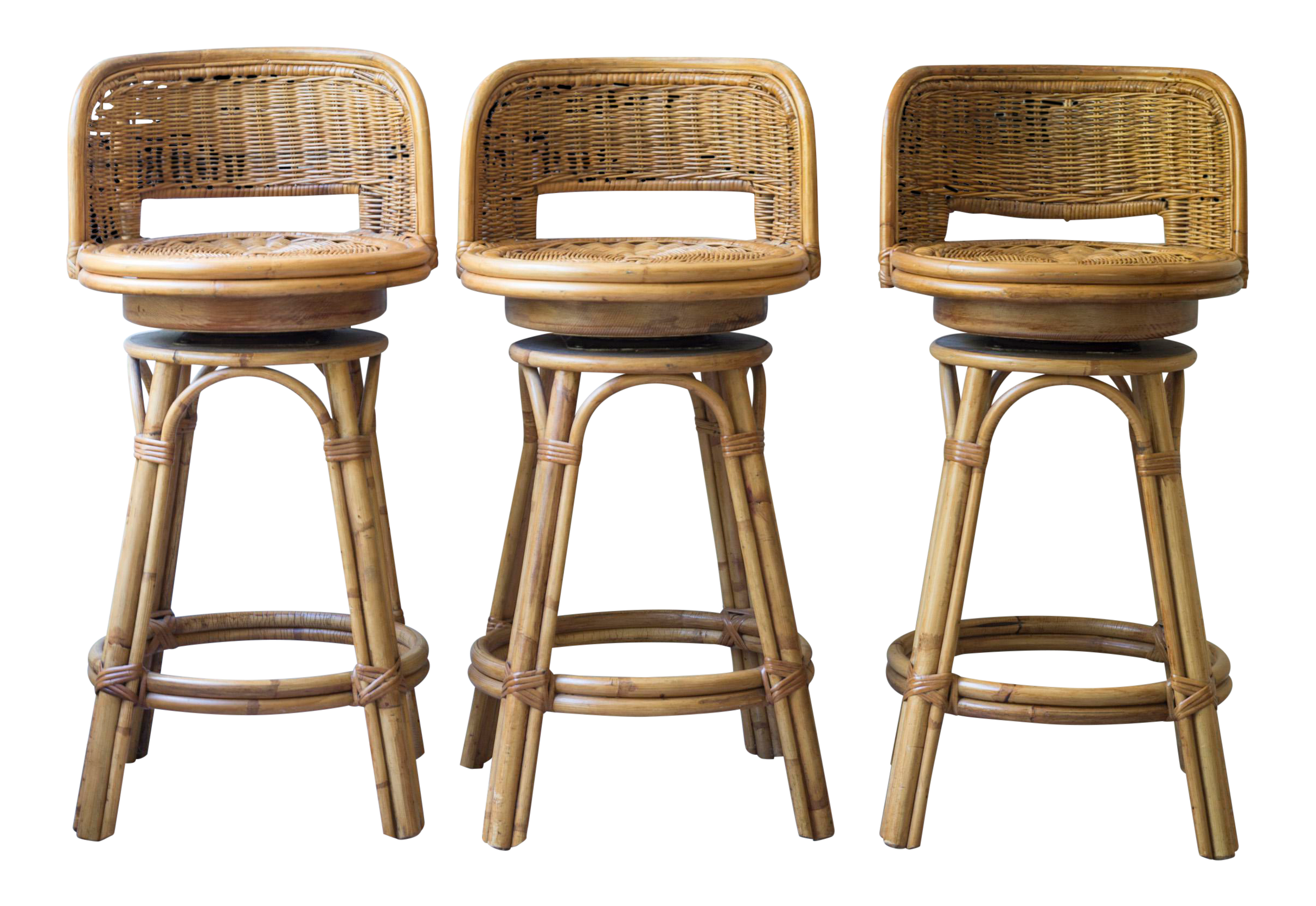Vintage Mid Century Rattan Bamboo Tiki Bar Stools Set Of
