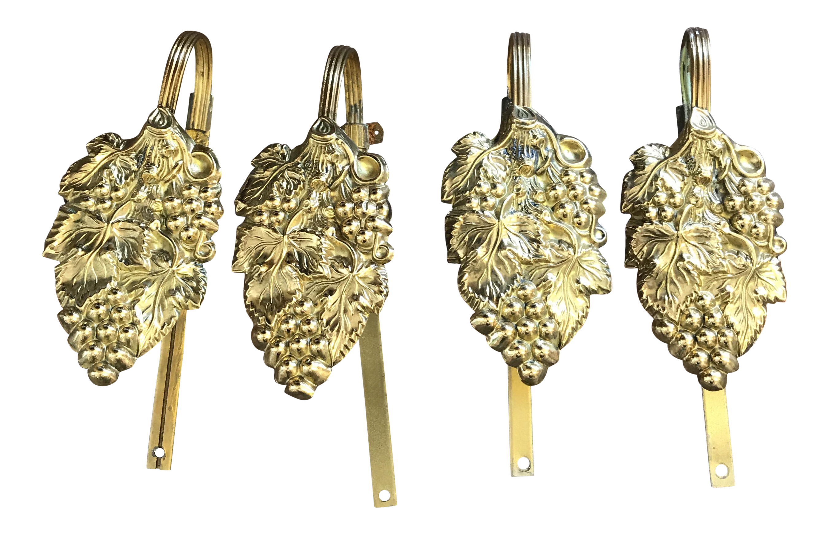 Antique Victorian Stamped Brass Drapery Tie Backs Set Of