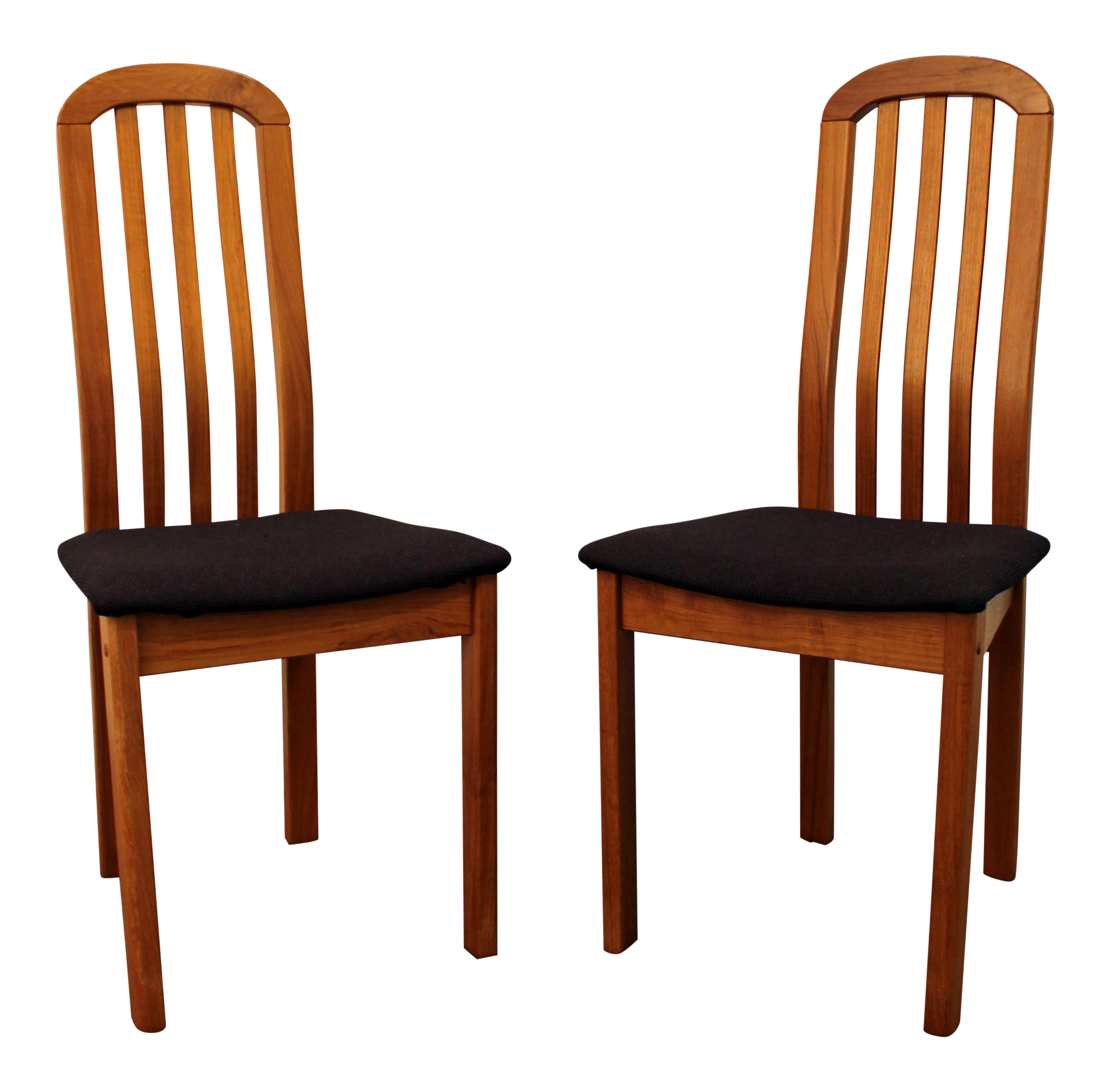 Mid Century Danish Modern Teak Spindle Back Side Dining Chairs a