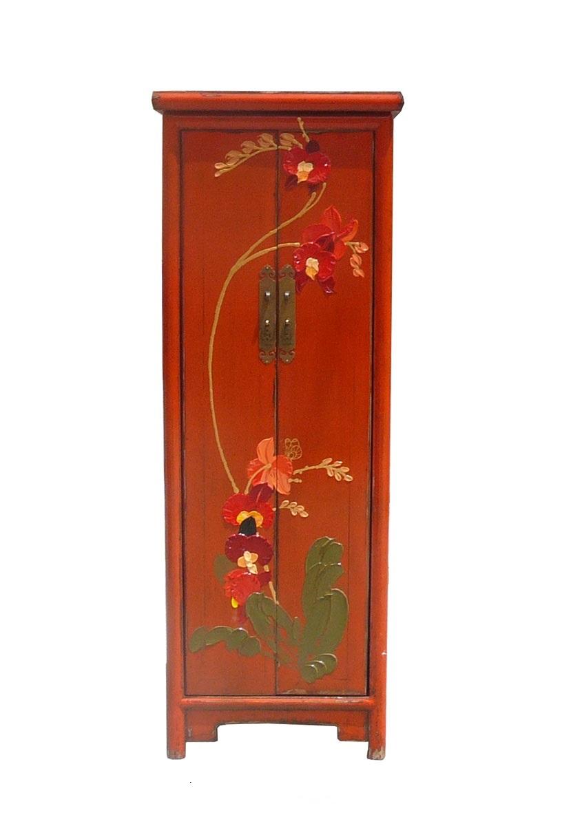 Chinese Orange Thick Oil Flower Narrow Cabinet Chairish