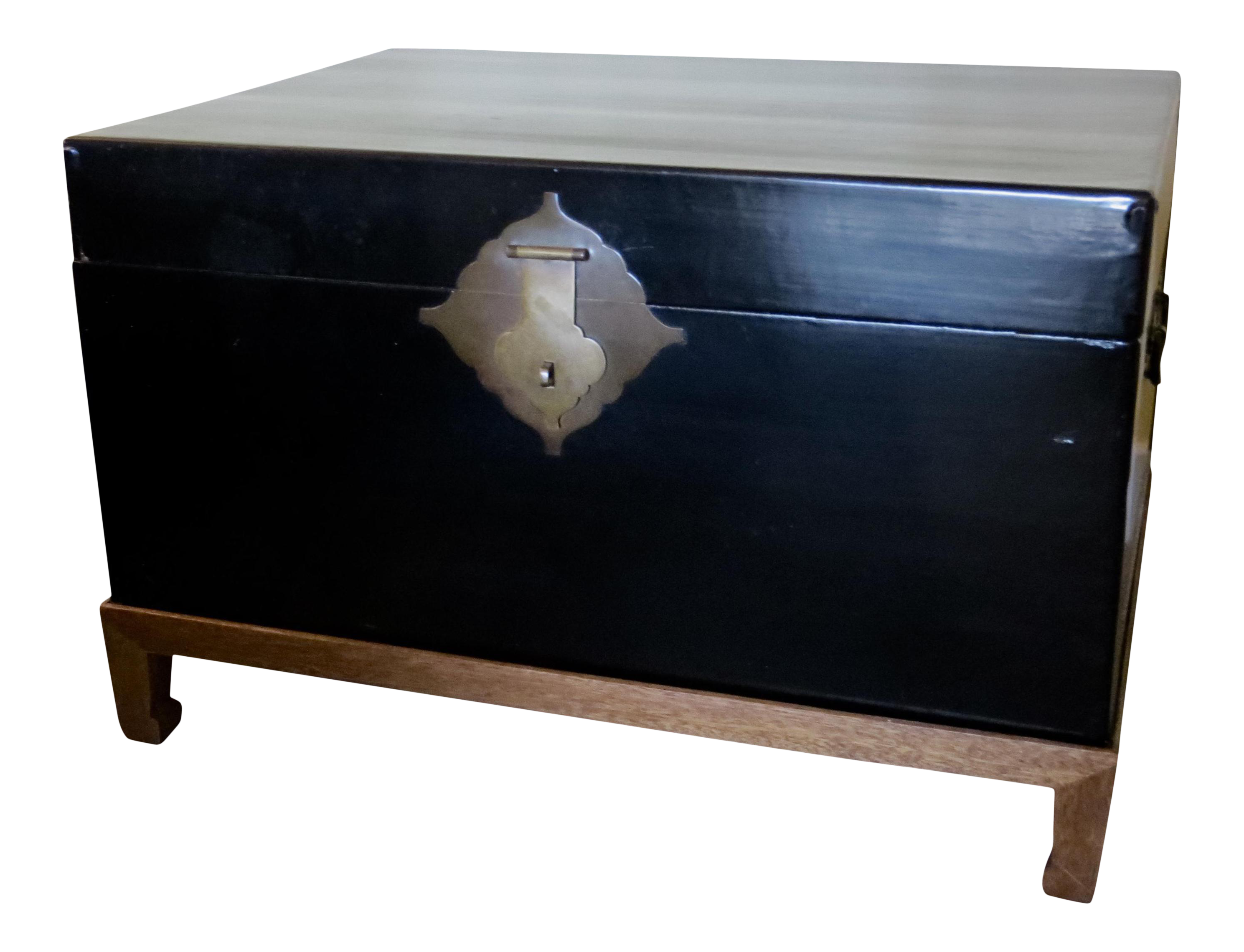 Antique Chinese Black Lacquered Leather Trunk Coffee Table