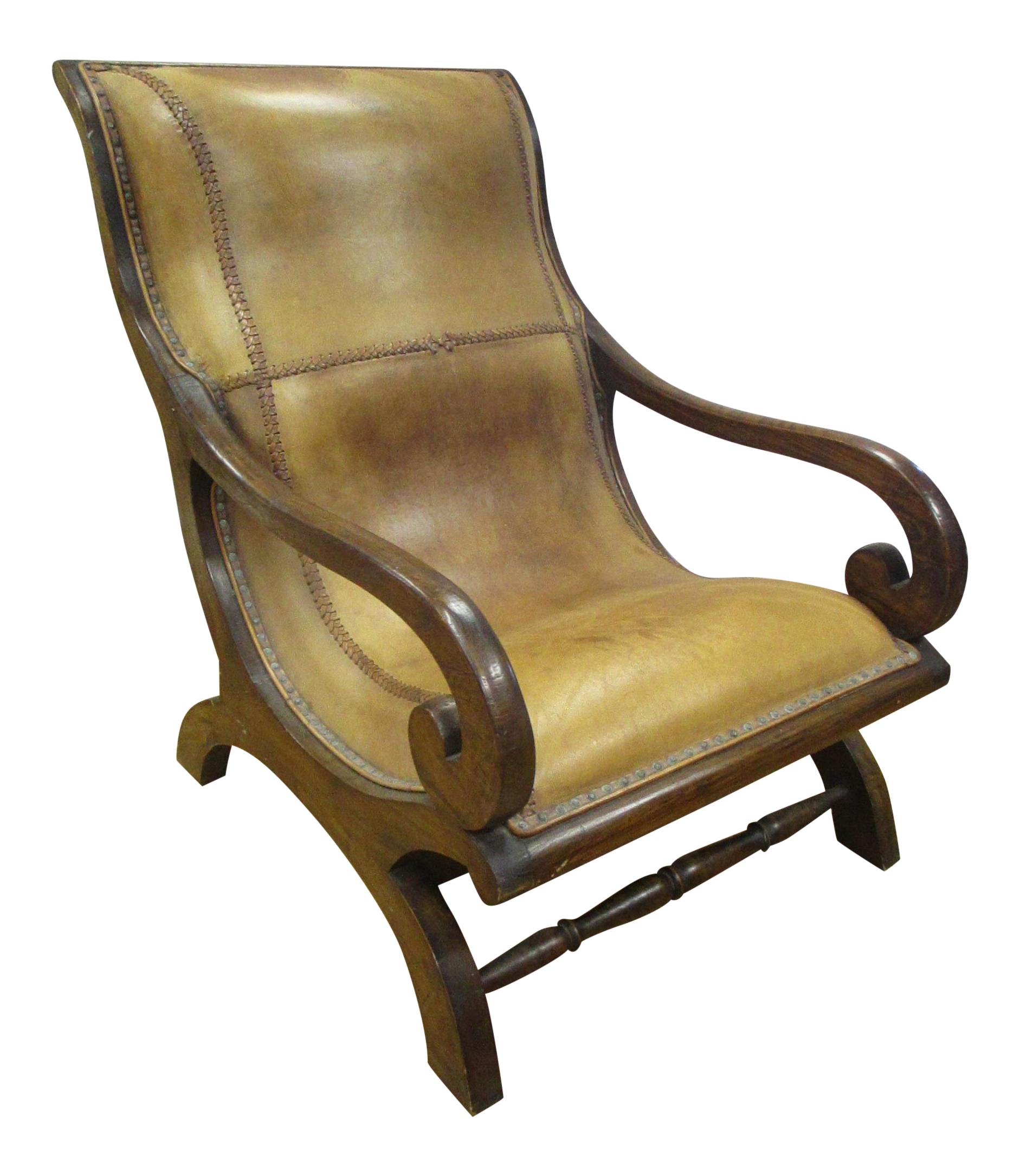 Vintage Leather Amp Mahogany Plantation Chair Chairish