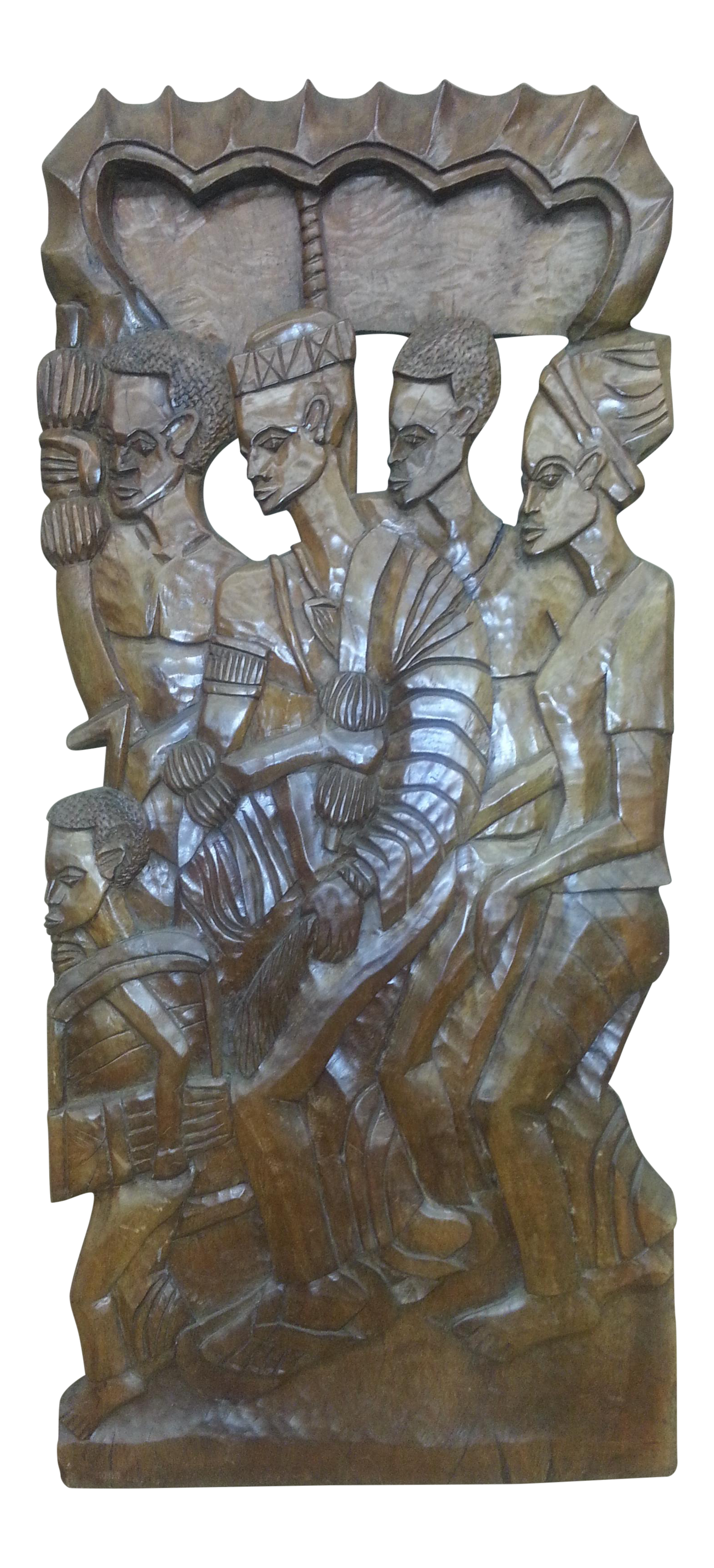 Hand carved wooden party african tribal heavy relief