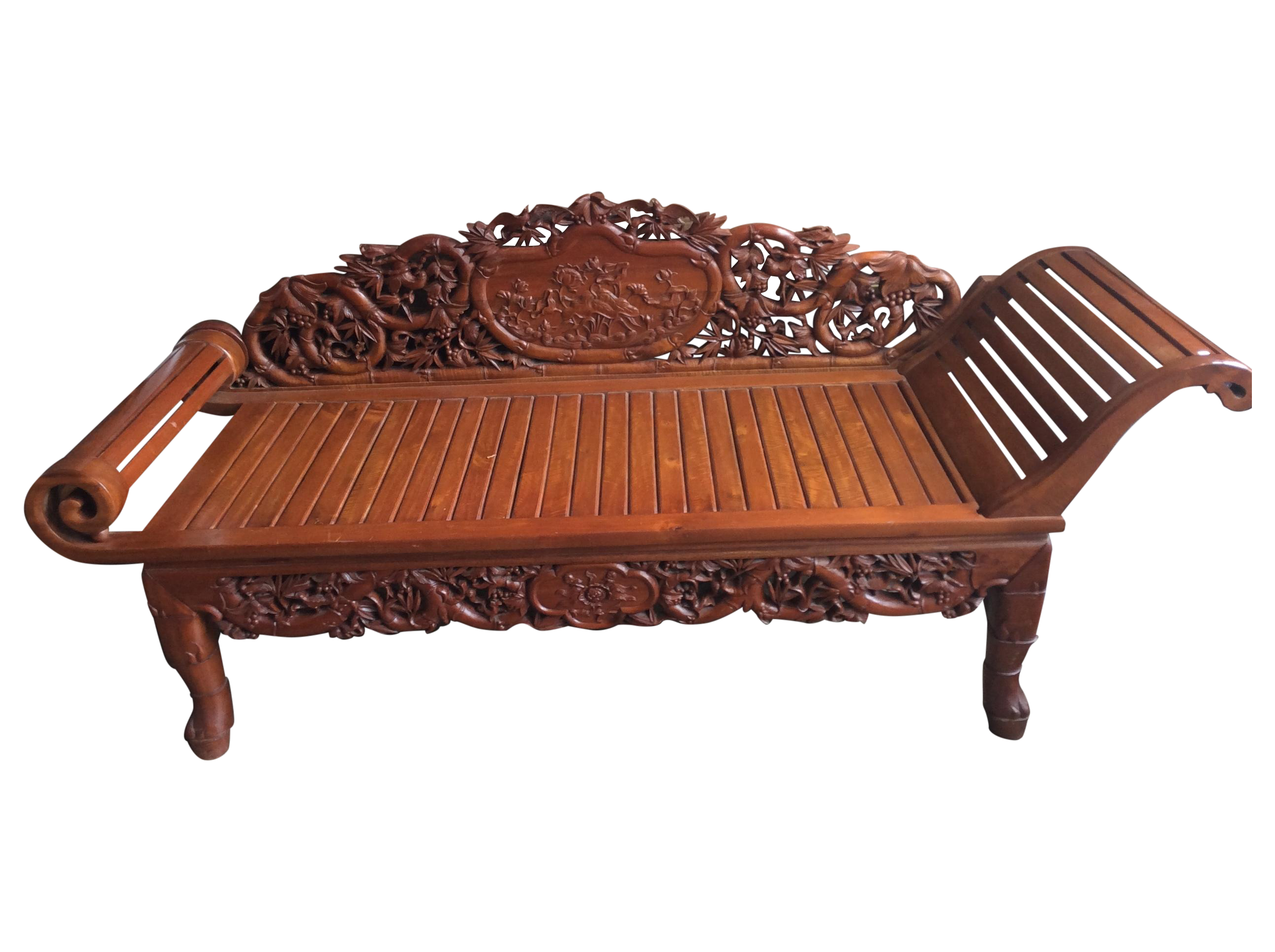 Vietnamese hand carved wood chaise lounge chairish for Carved wooden chaise