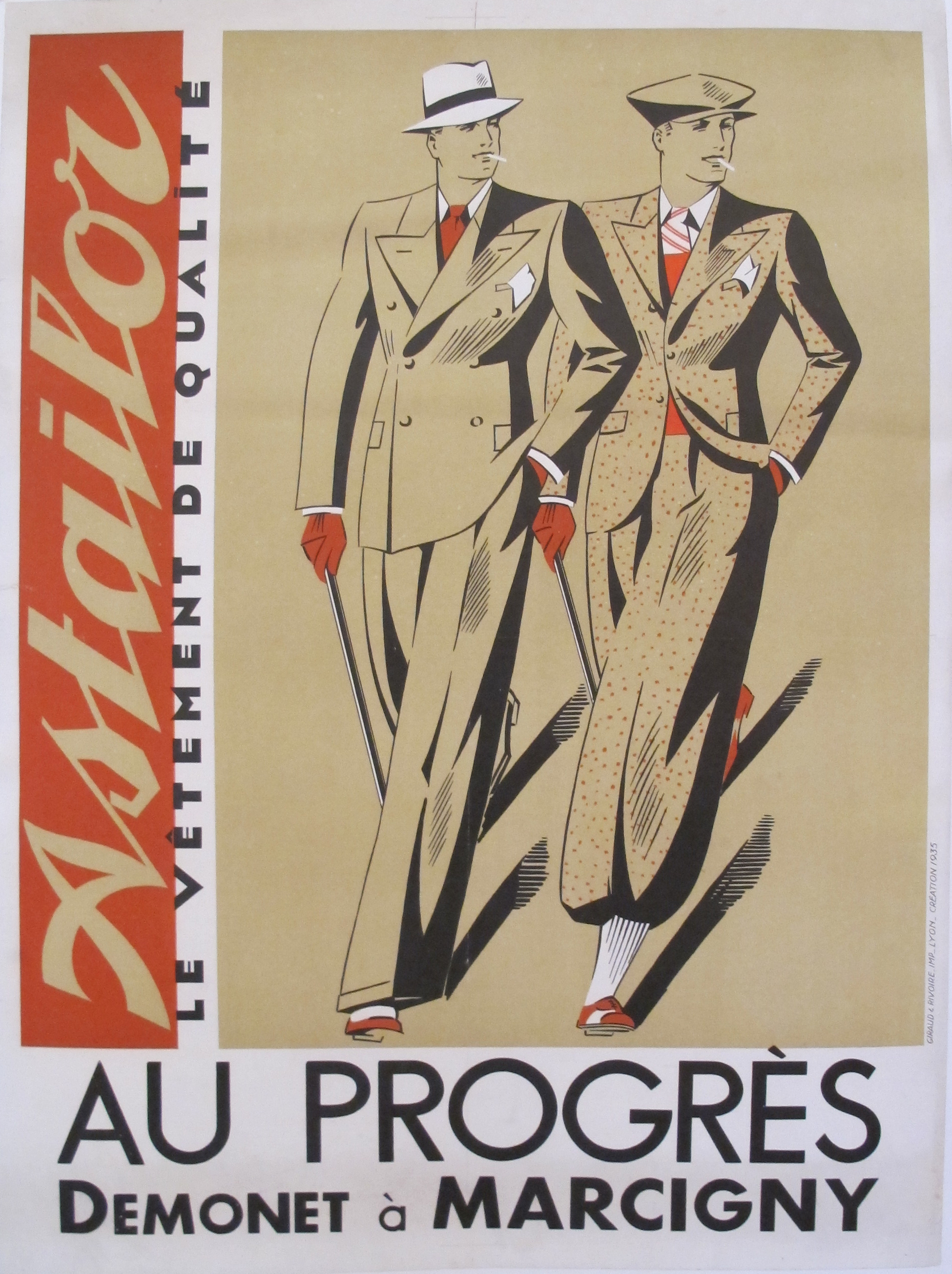 Original 1935 Art Deco Fashion Poster Astailor Chairish