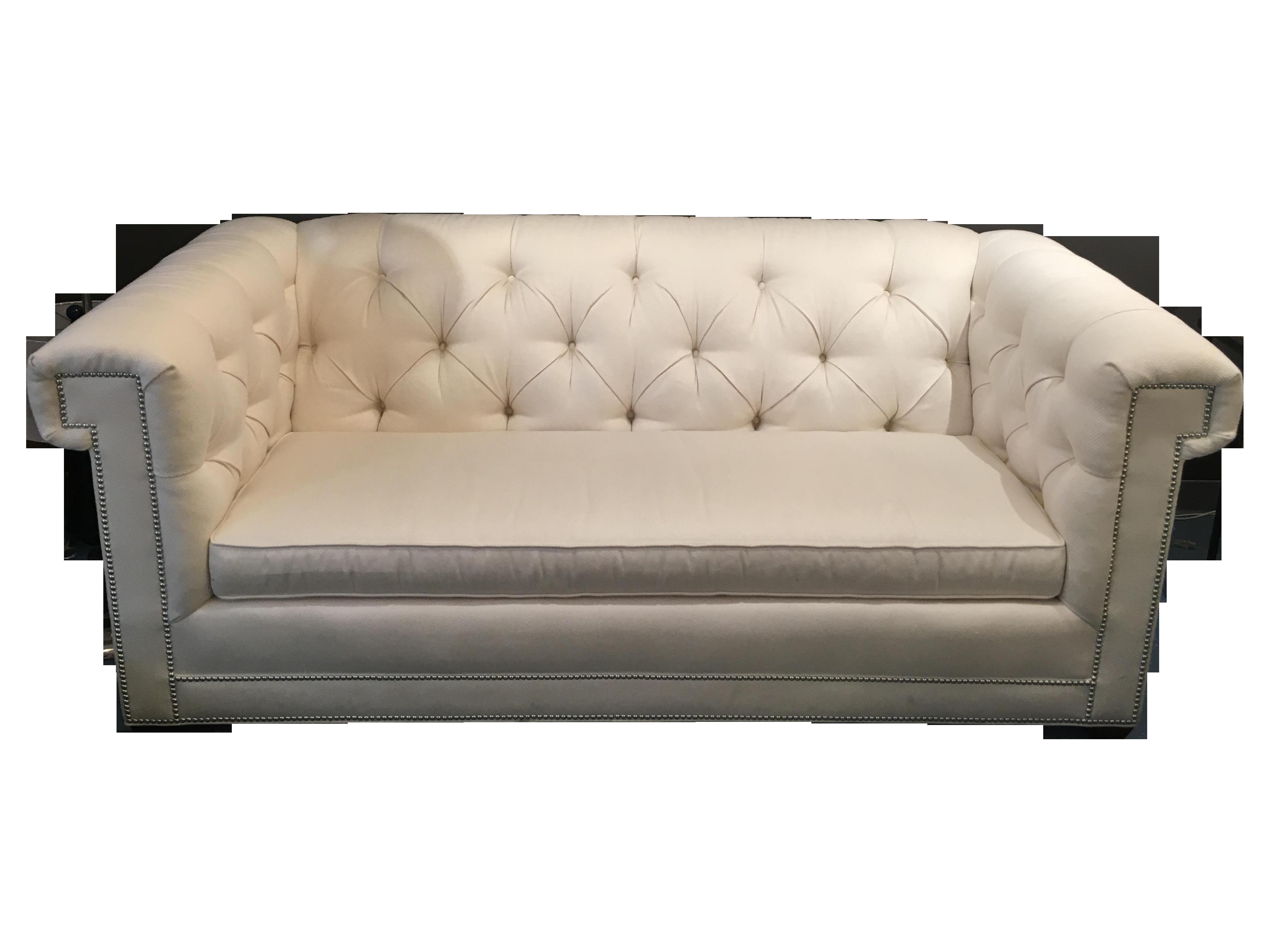 CR Laine Chesterfield Sofa White Sunbrella Fabric