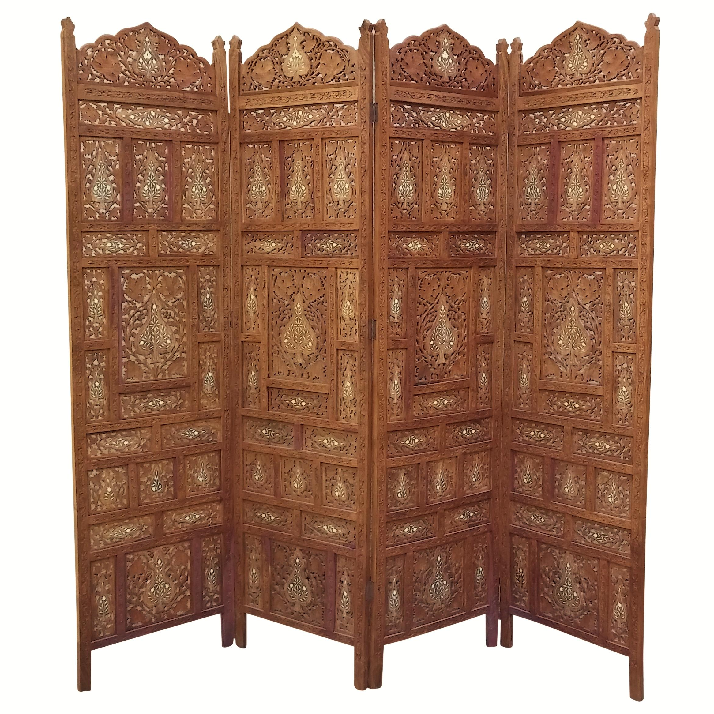 Carved Indian Screen With Brass Inlay Chairish