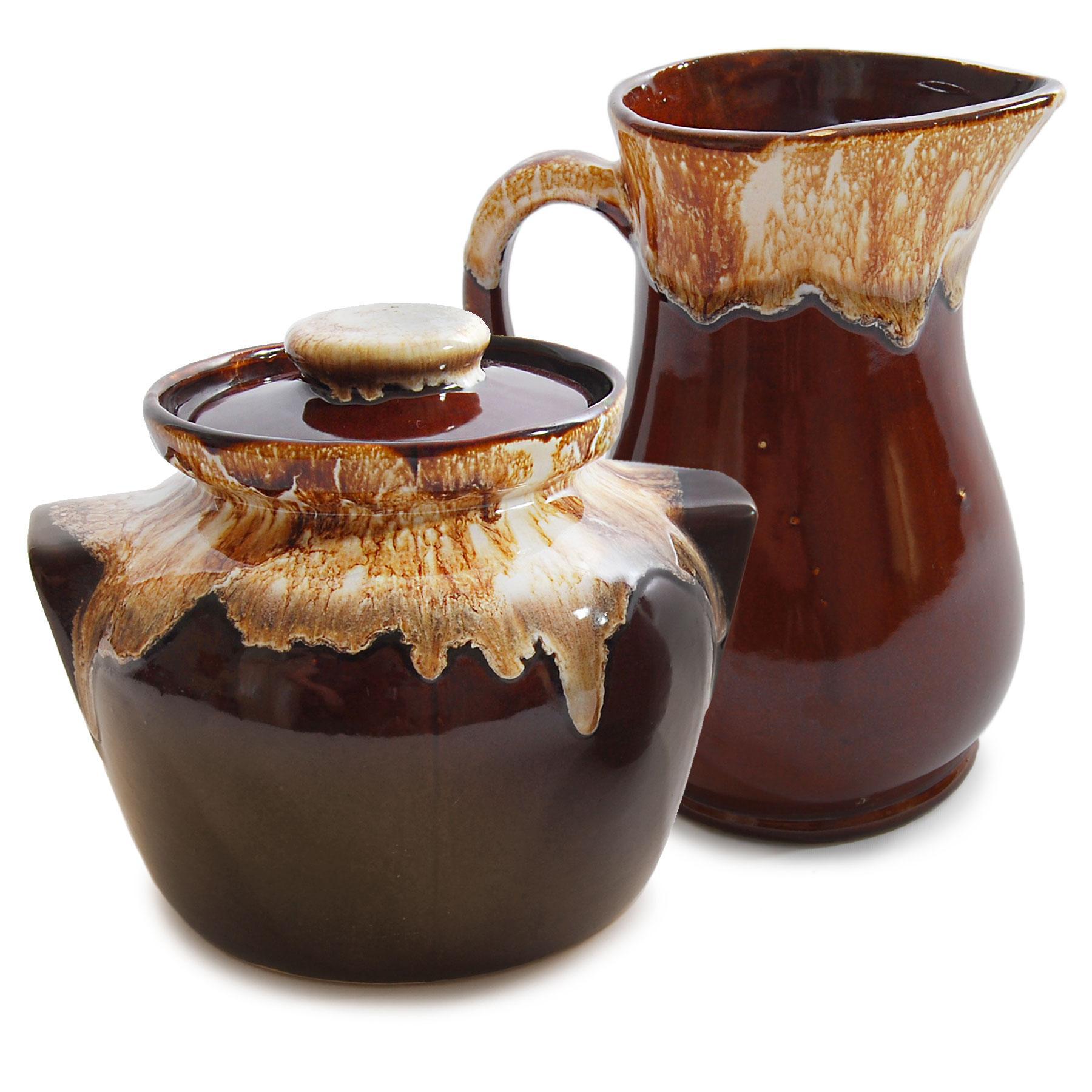 Roseville Usa Brown Drip Glaze Jar Amp Pitcher Chairish