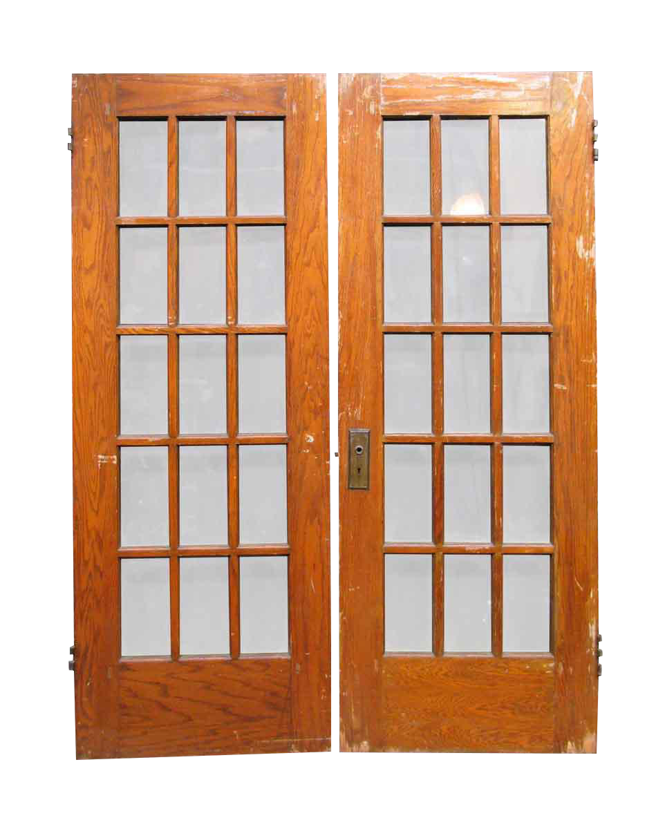 Fifteen lite french doors a pair chairish for 1 lite french door
