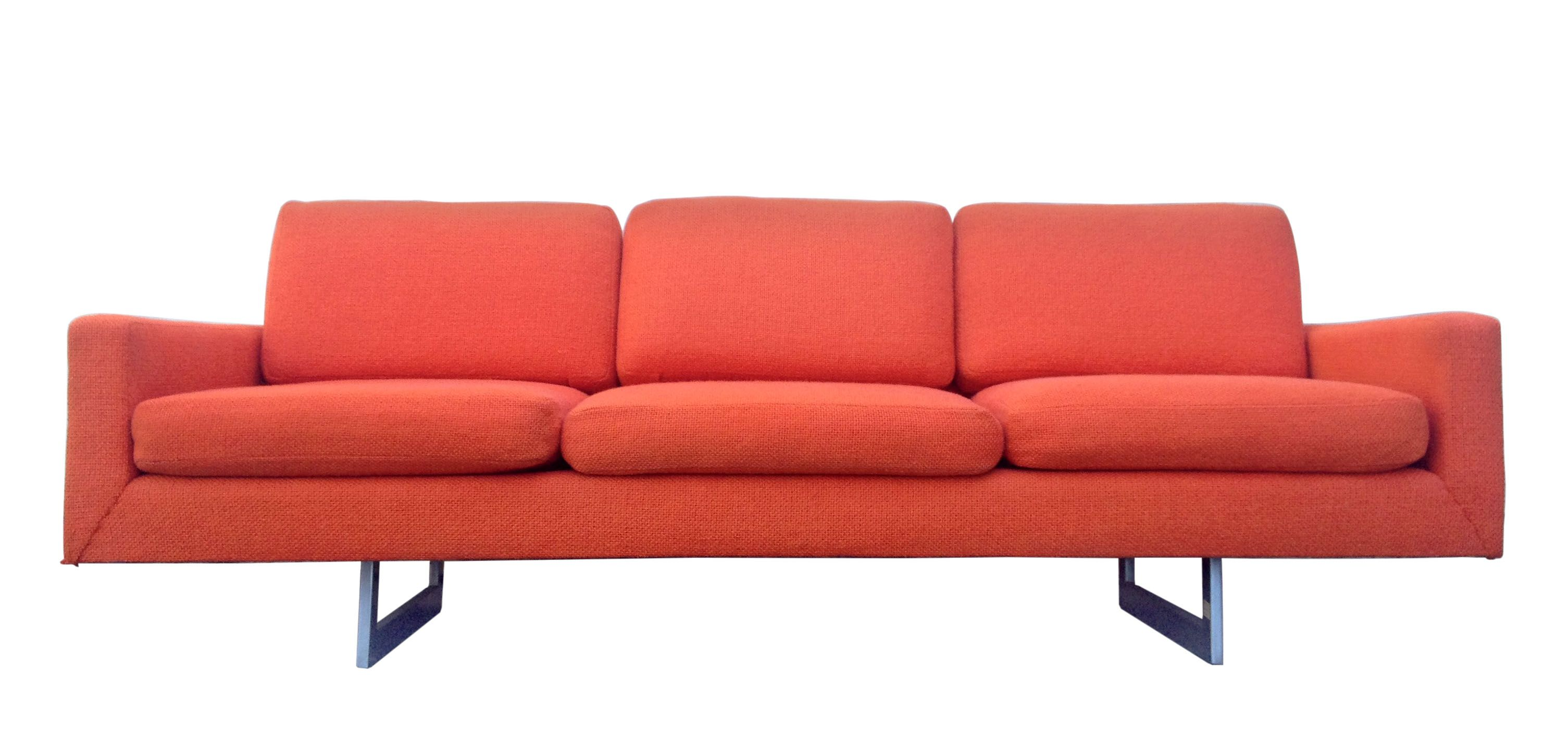 Mid Century Modern Bright Orange Sofa