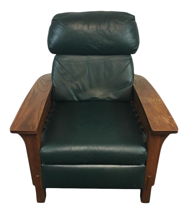 Mission Style Black Leather Upholstered Wood Recliner
