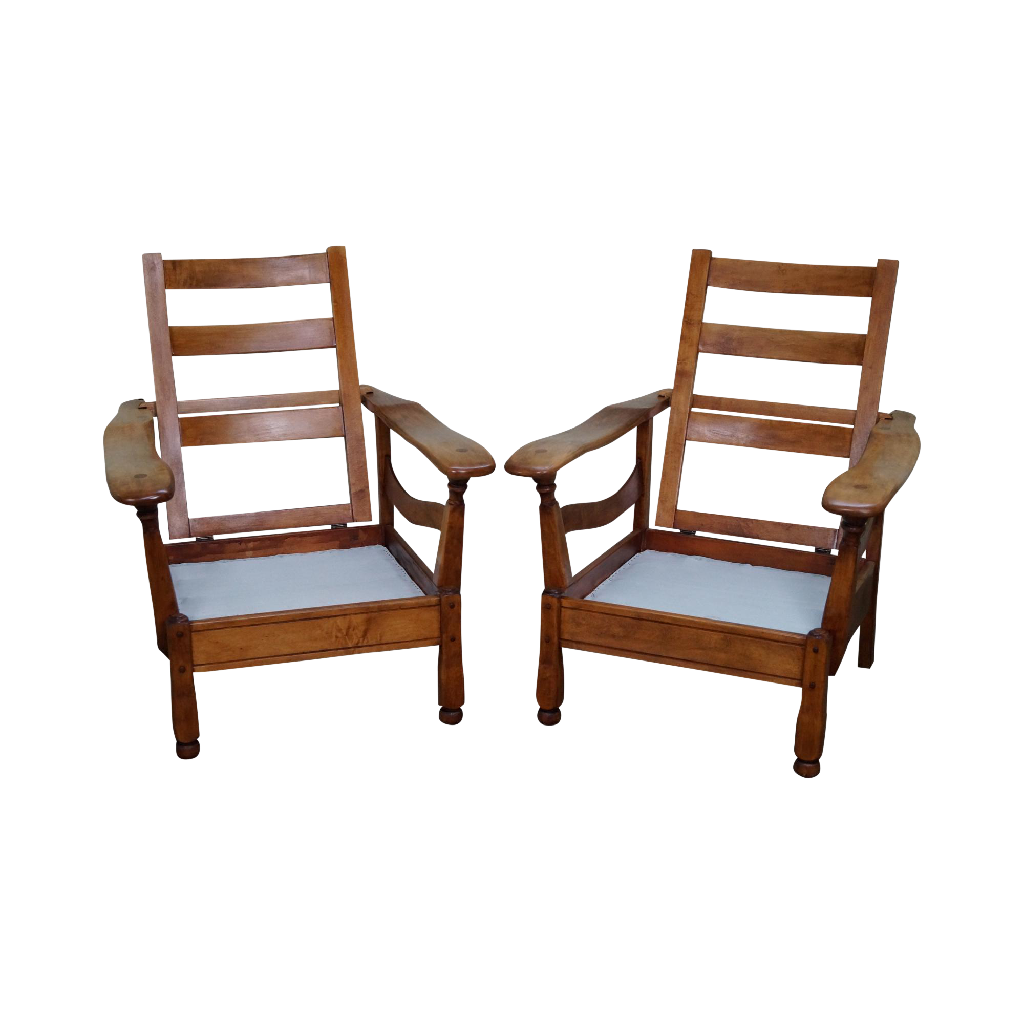 1940s Vintage Solid Rock Maple Recliner Morris Chairs a Pair