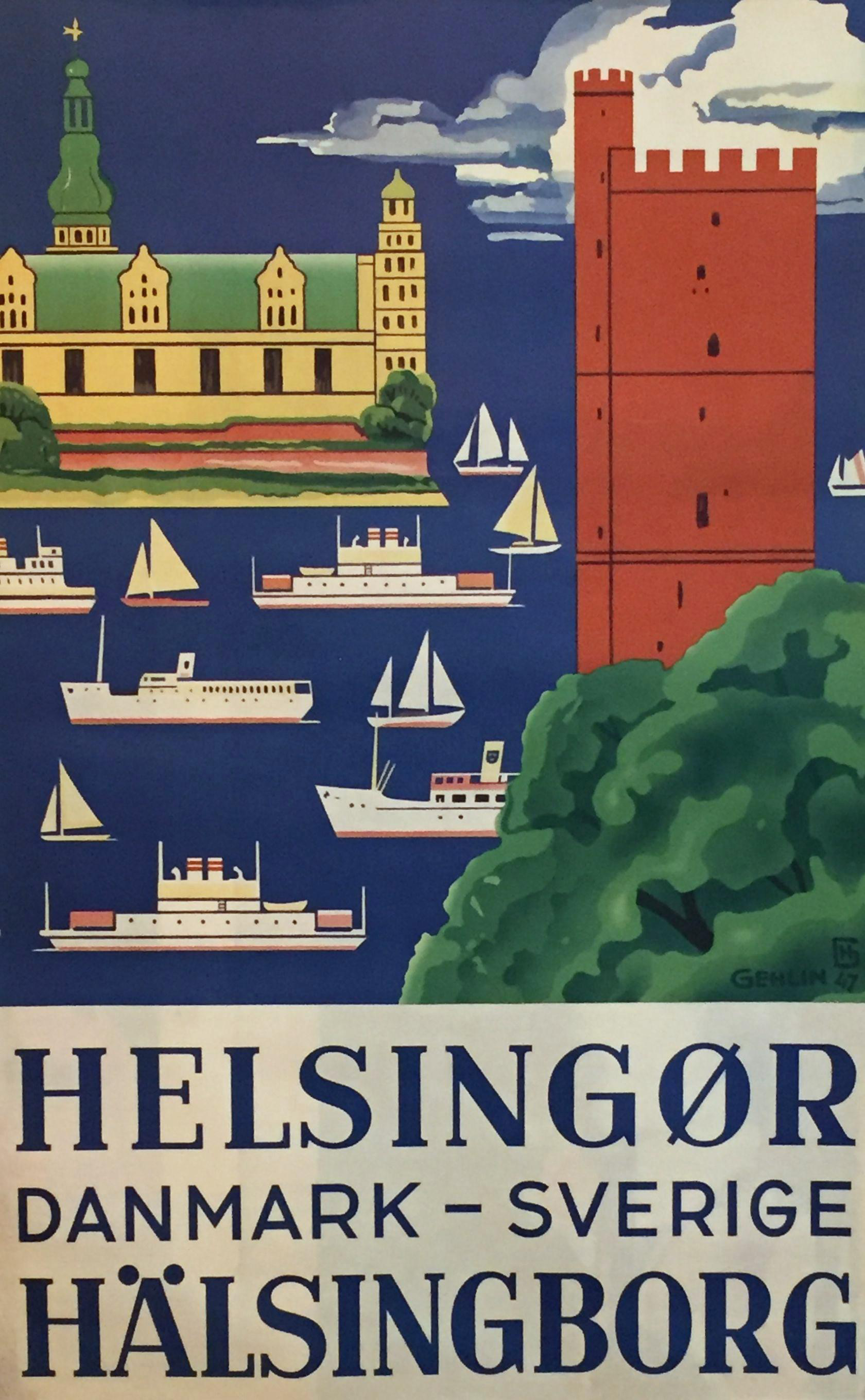 1947 Vintage Denmark Sweden Travel Poster Chairish