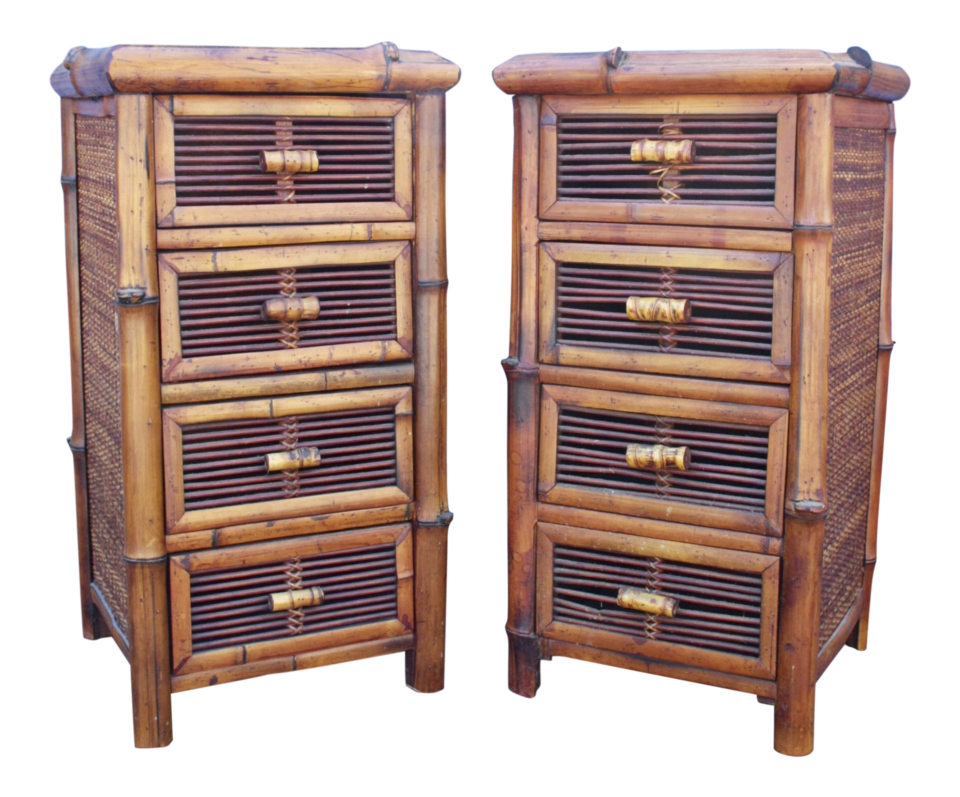 bamboo wicker chests of drawers nightstands a pair chairish. Black Bedroom Furniture Sets. Home Design Ideas