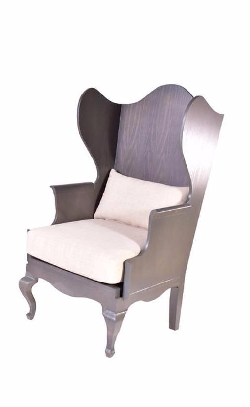 Wood wingback chair chairish