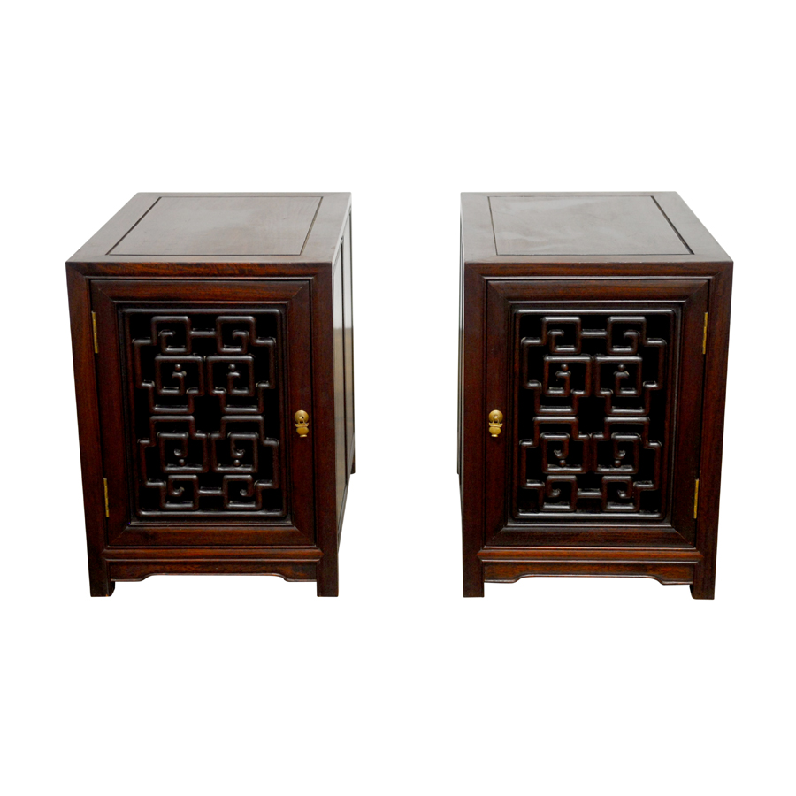 Chinese carved rosewood bedside cabinets pair chairish for Carved kitchen cabinets