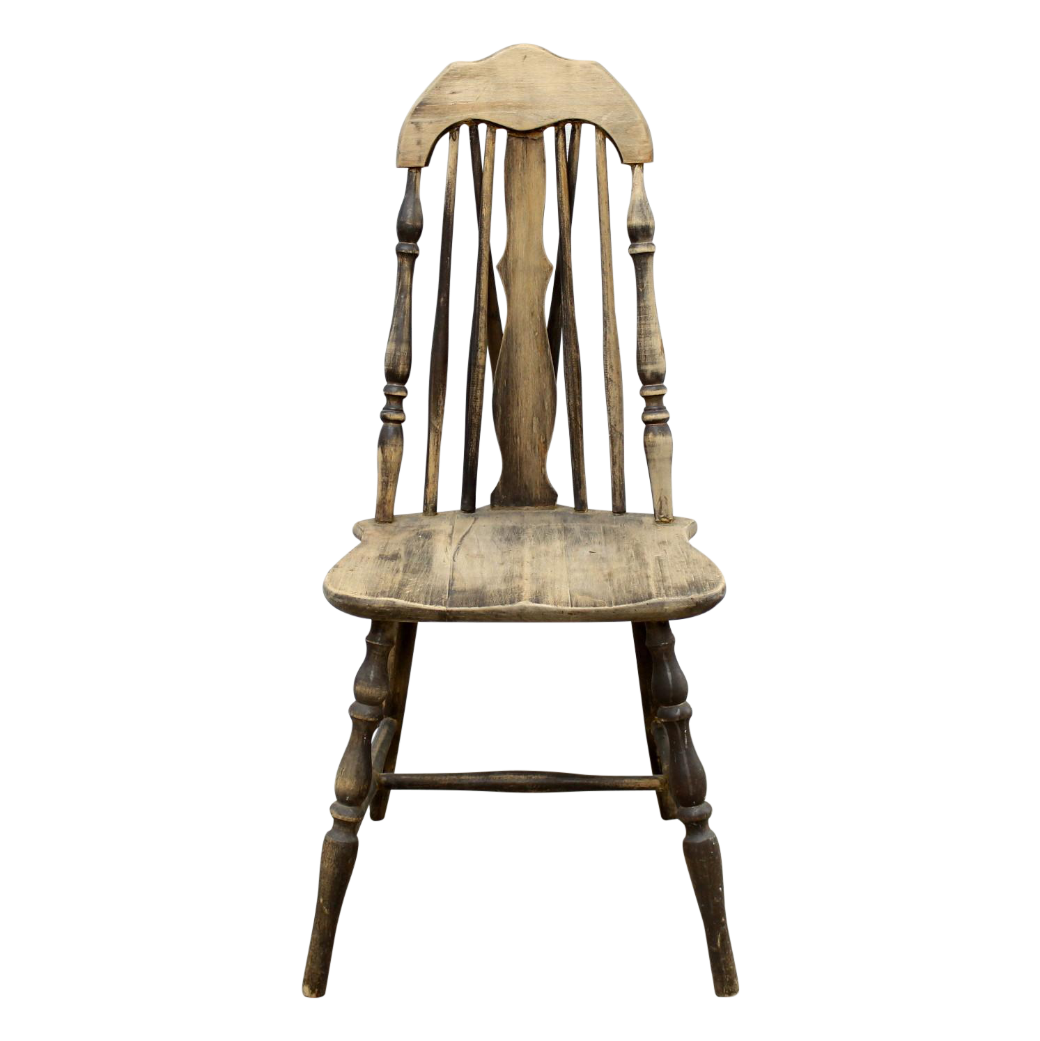 Antique wooden spindle chairs - Image Of Antique Splat Tapered Back Windsor Chair