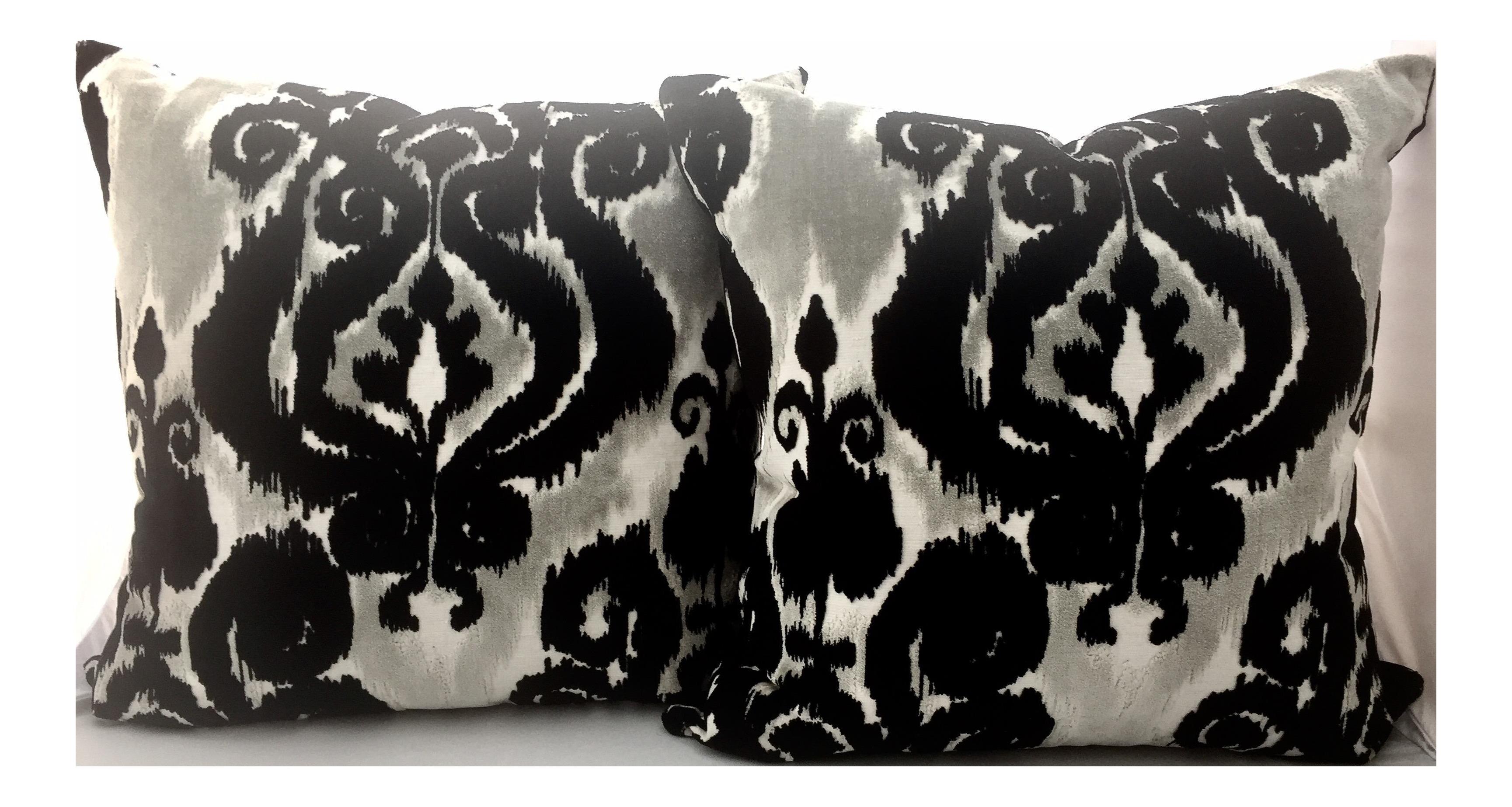 Damask Black and White Ikat Velvet Pillows - a Pair Chairish