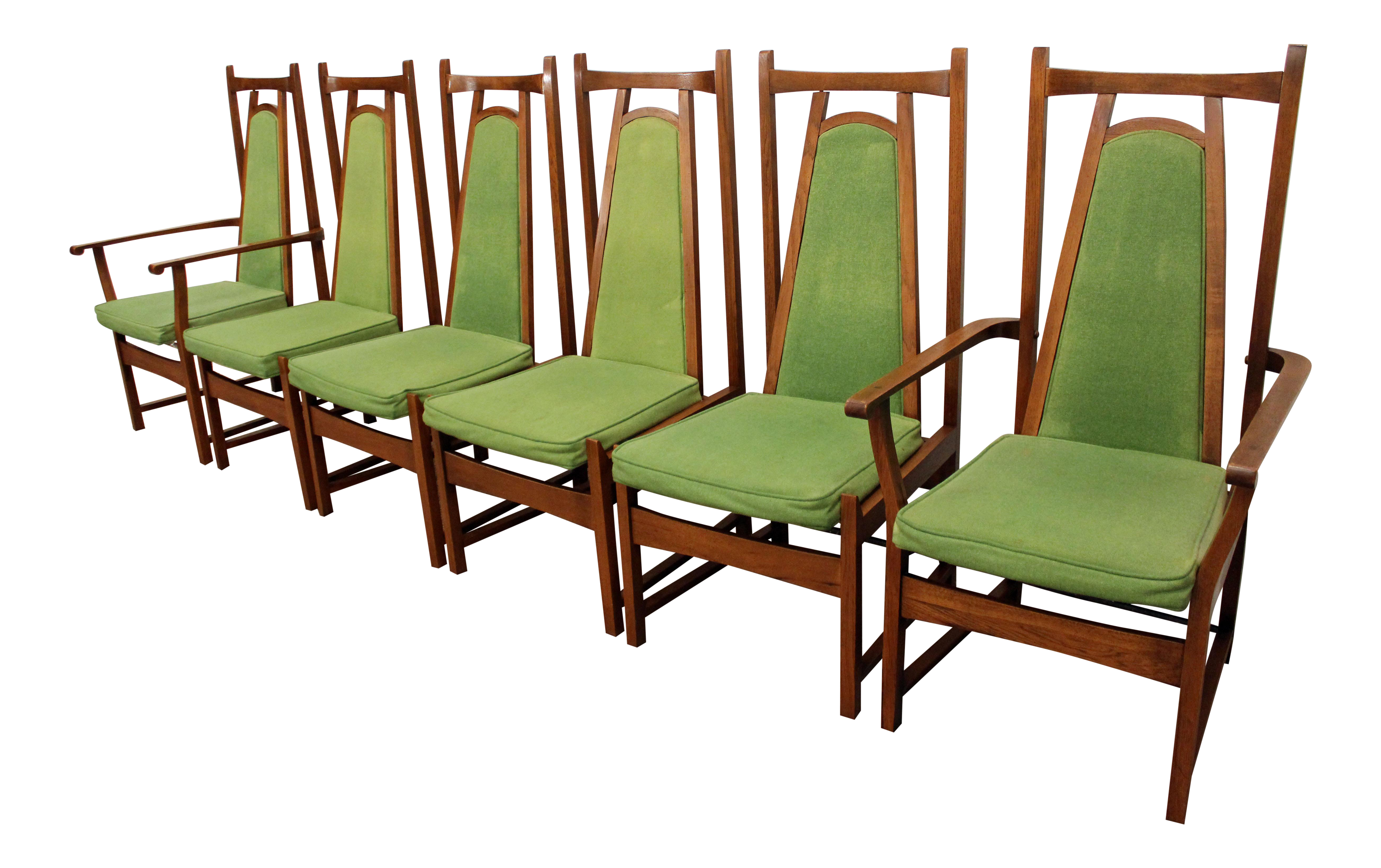 Mid Century Modern Walnut & Lime Green High Back Dining Chairs
