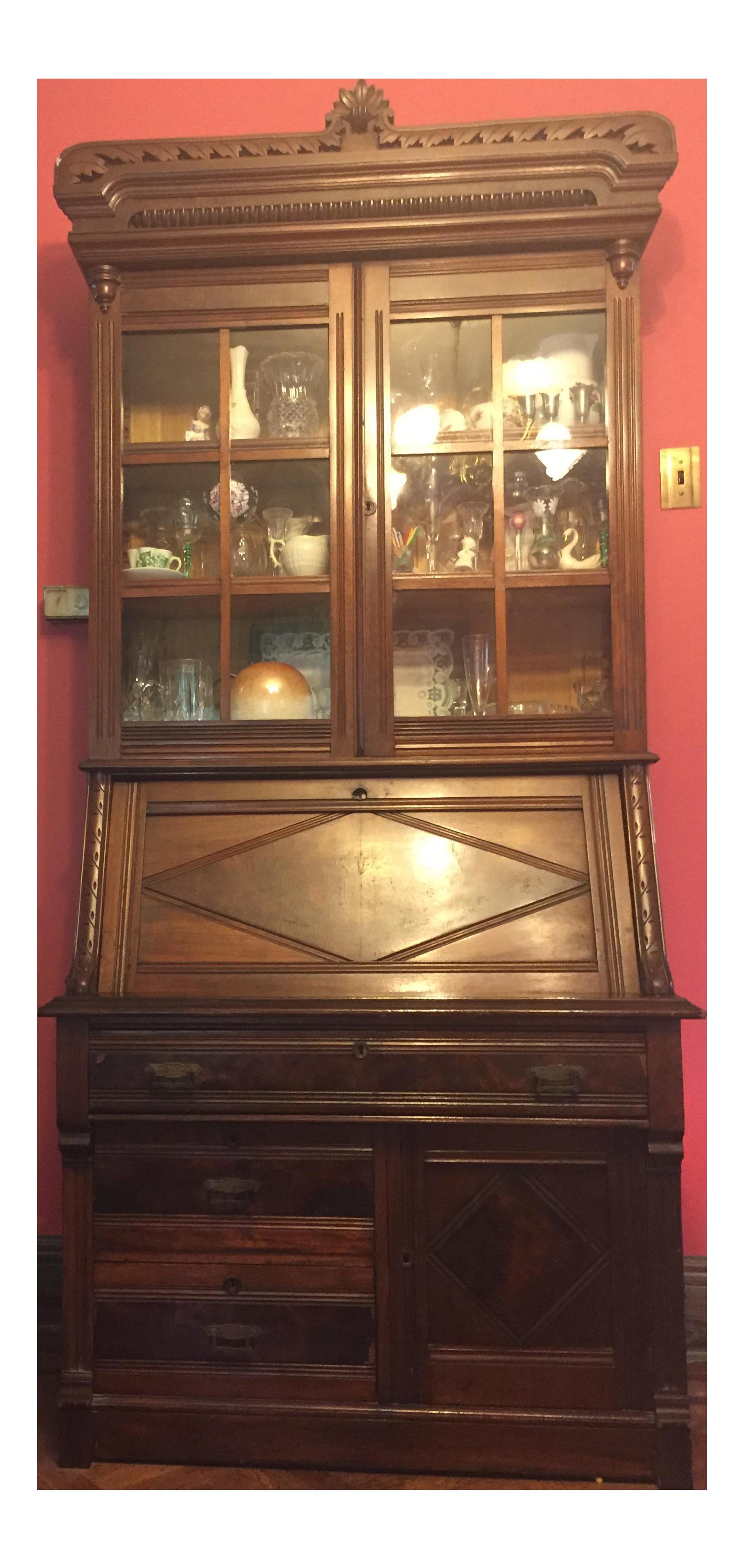 vintage wood china cabinet secretary desk chairish. Black Bedroom Furniture Sets. Home Design Ideas