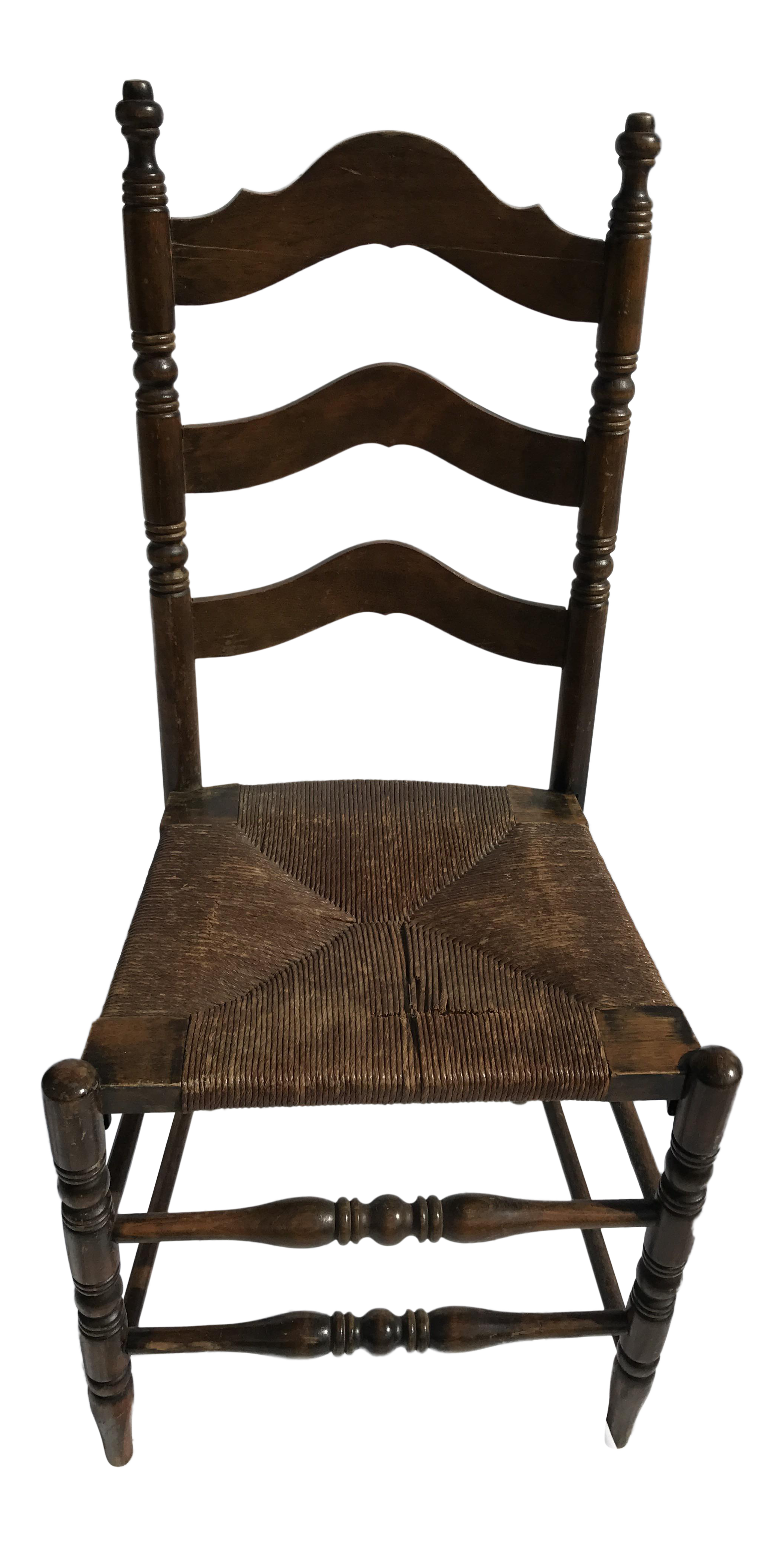 Antique Ladder Back Rush Seat Chair Chairish