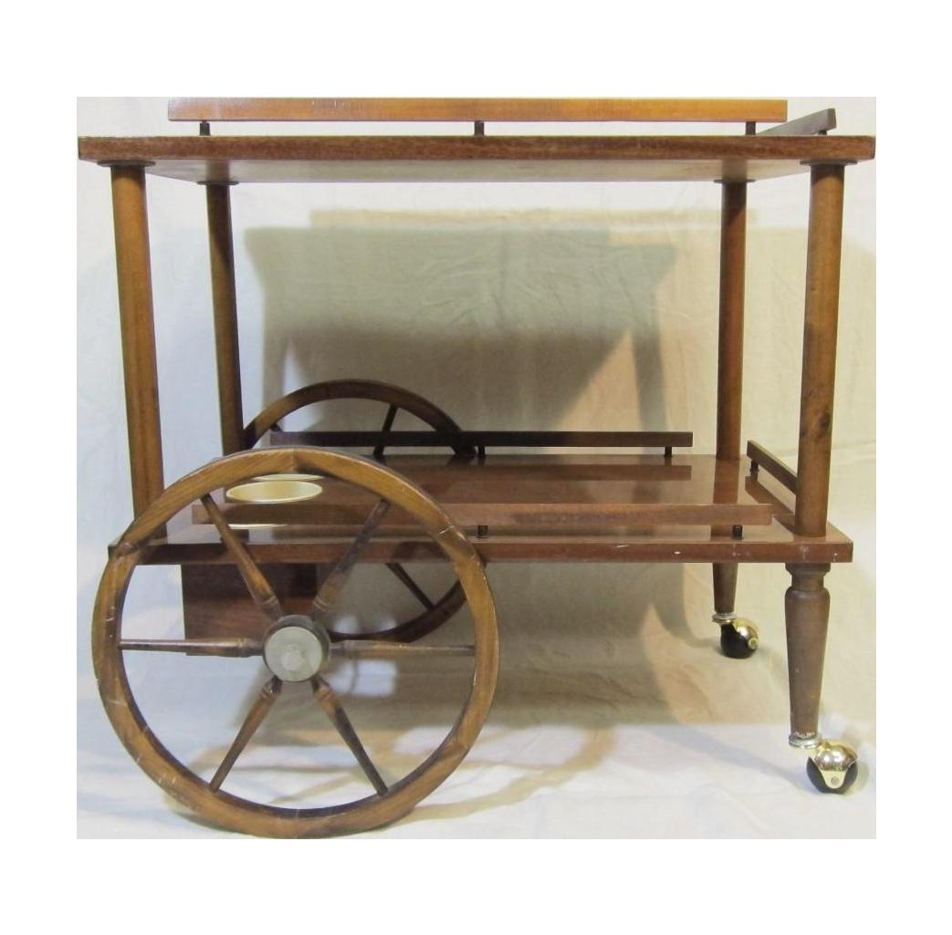 mid century wooden bar cart chairish. Black Bedroom Furniture Sets. Home Design Ideas