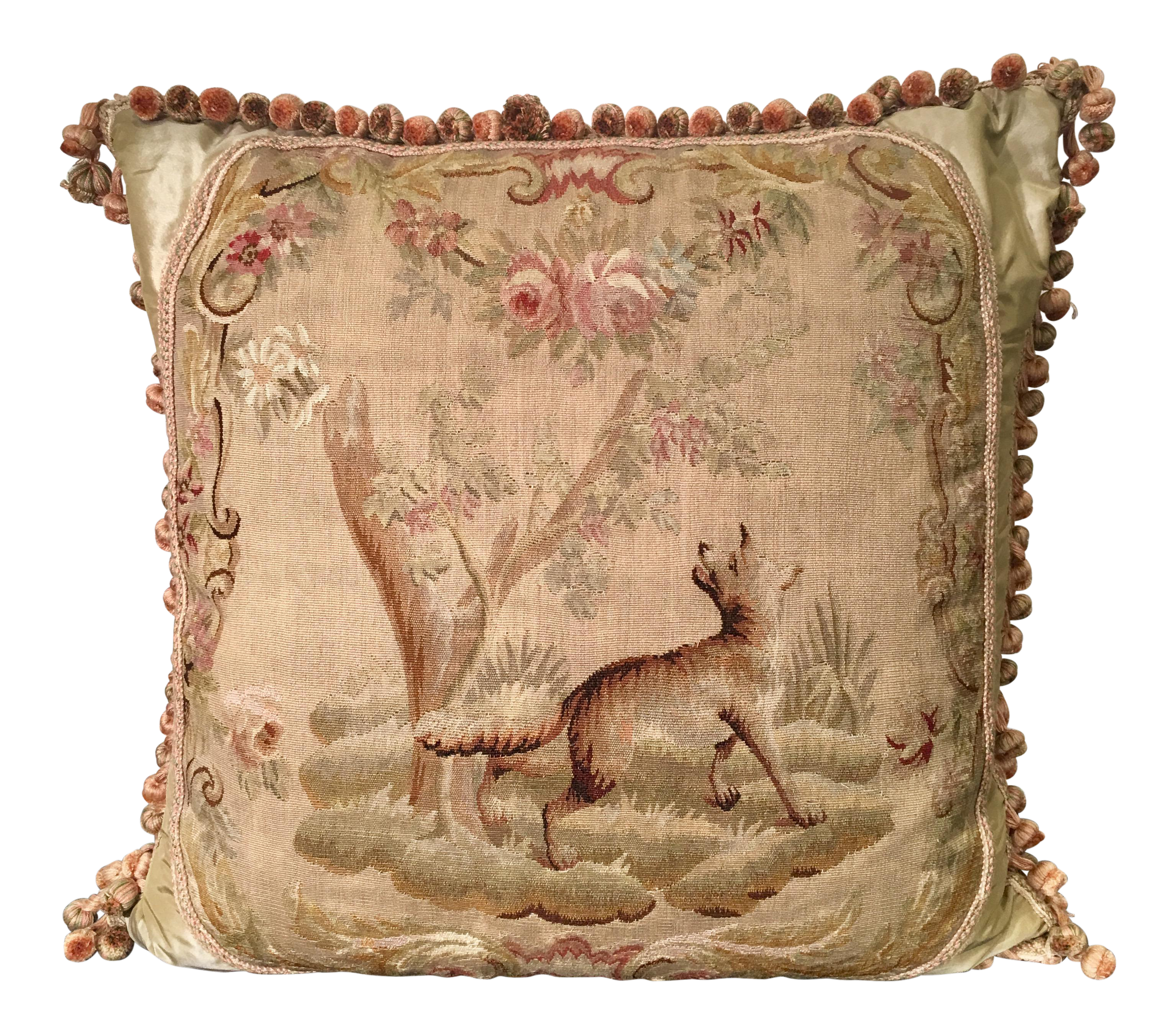 Antique Tapestry Sofa: Antique Aubusson Textile Scenic Tapestry Pillow