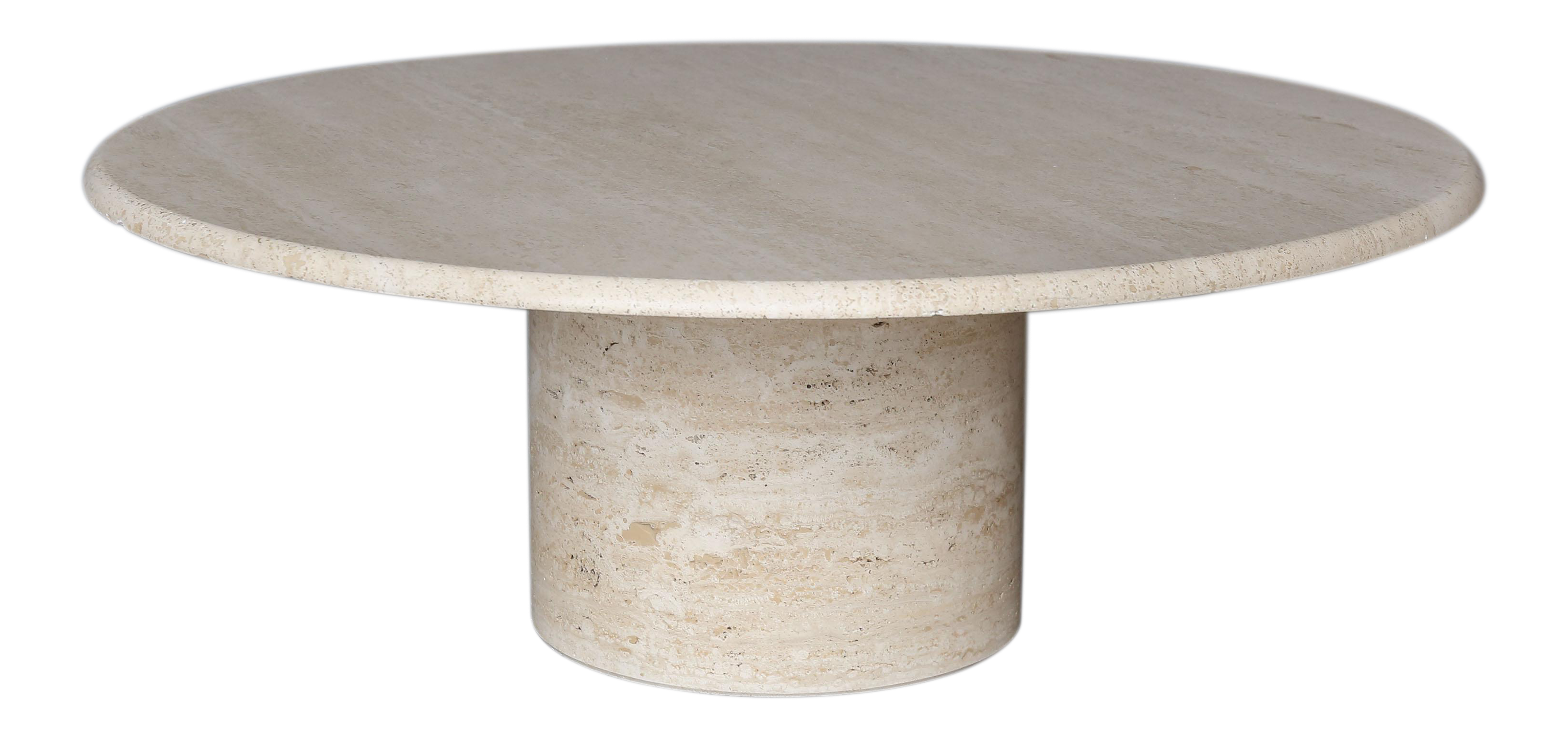 Lovely mid century round travertine coffee table decaso geotapseo Image collections