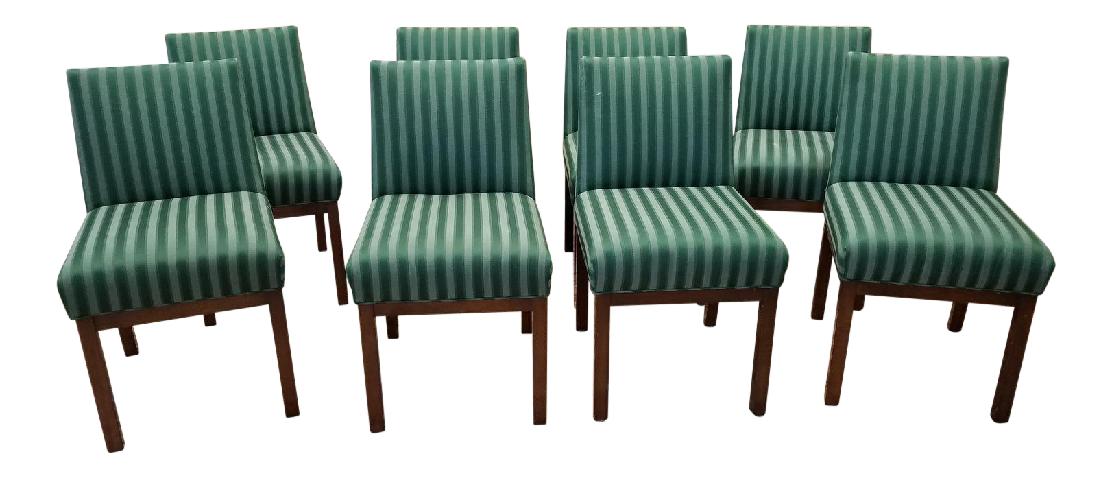 1970s Directional Contract Furniture Green Striped Upholstered Dining Room Chairs Set Of 8