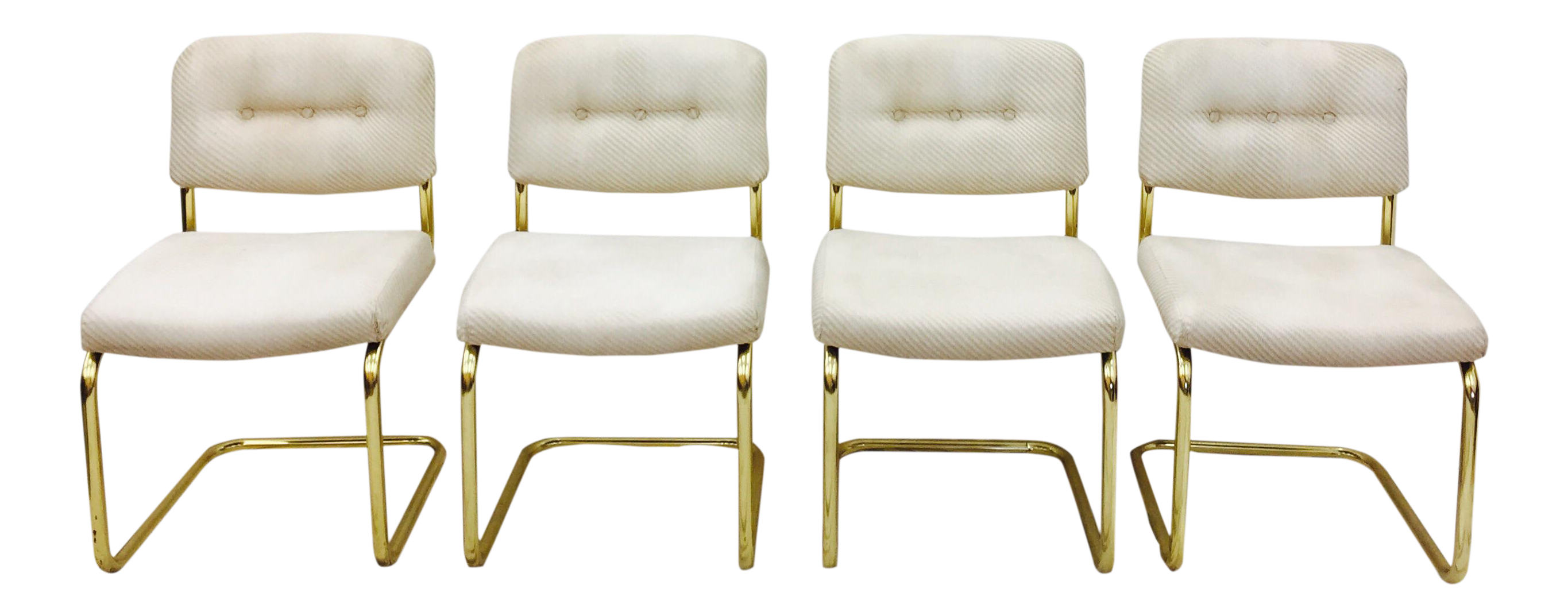 Vintage Lacquered Brass Chrome Craft Dining Chairs Set of 4