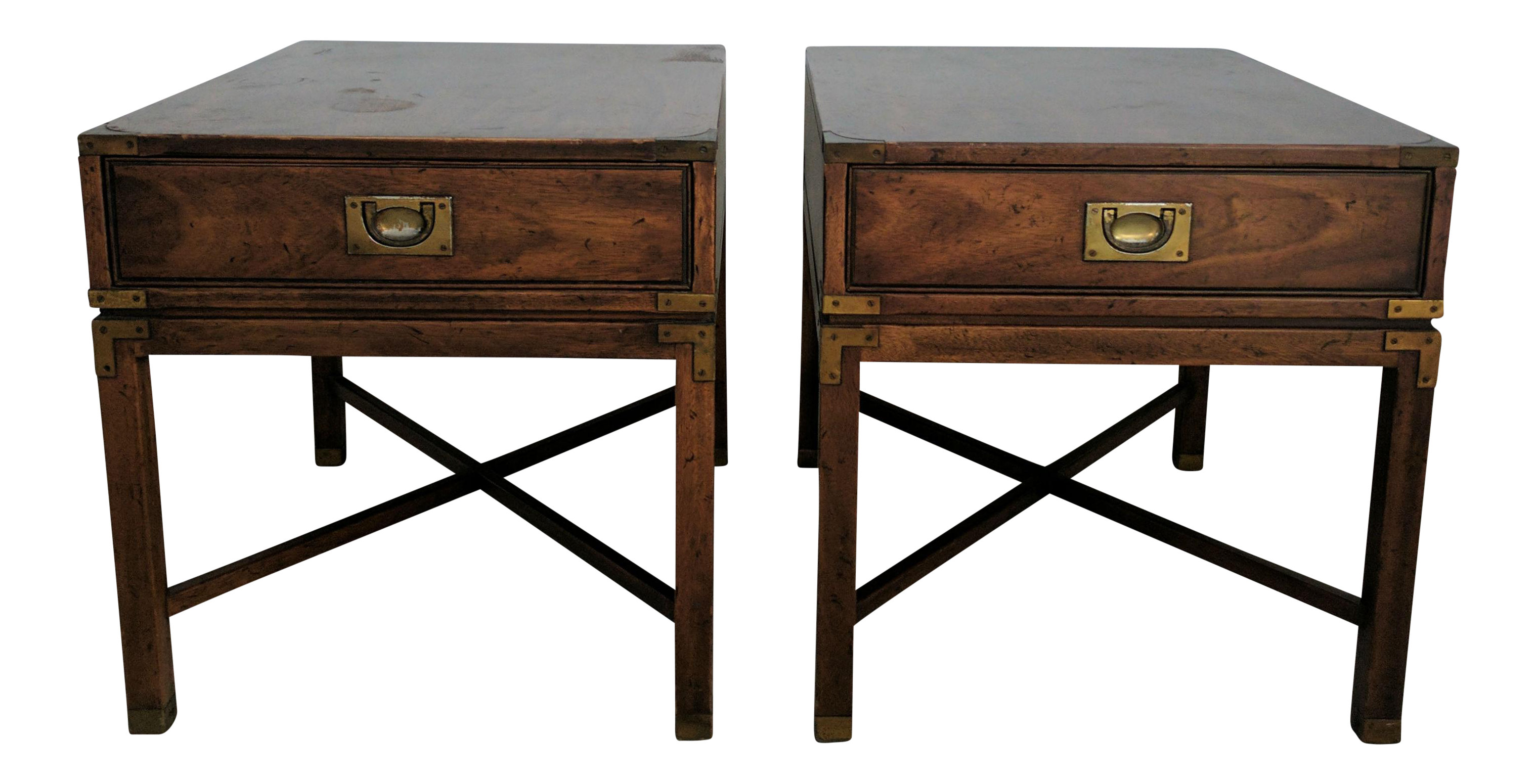 Vintage Heritage Campaign Style Nightstands A Pair
