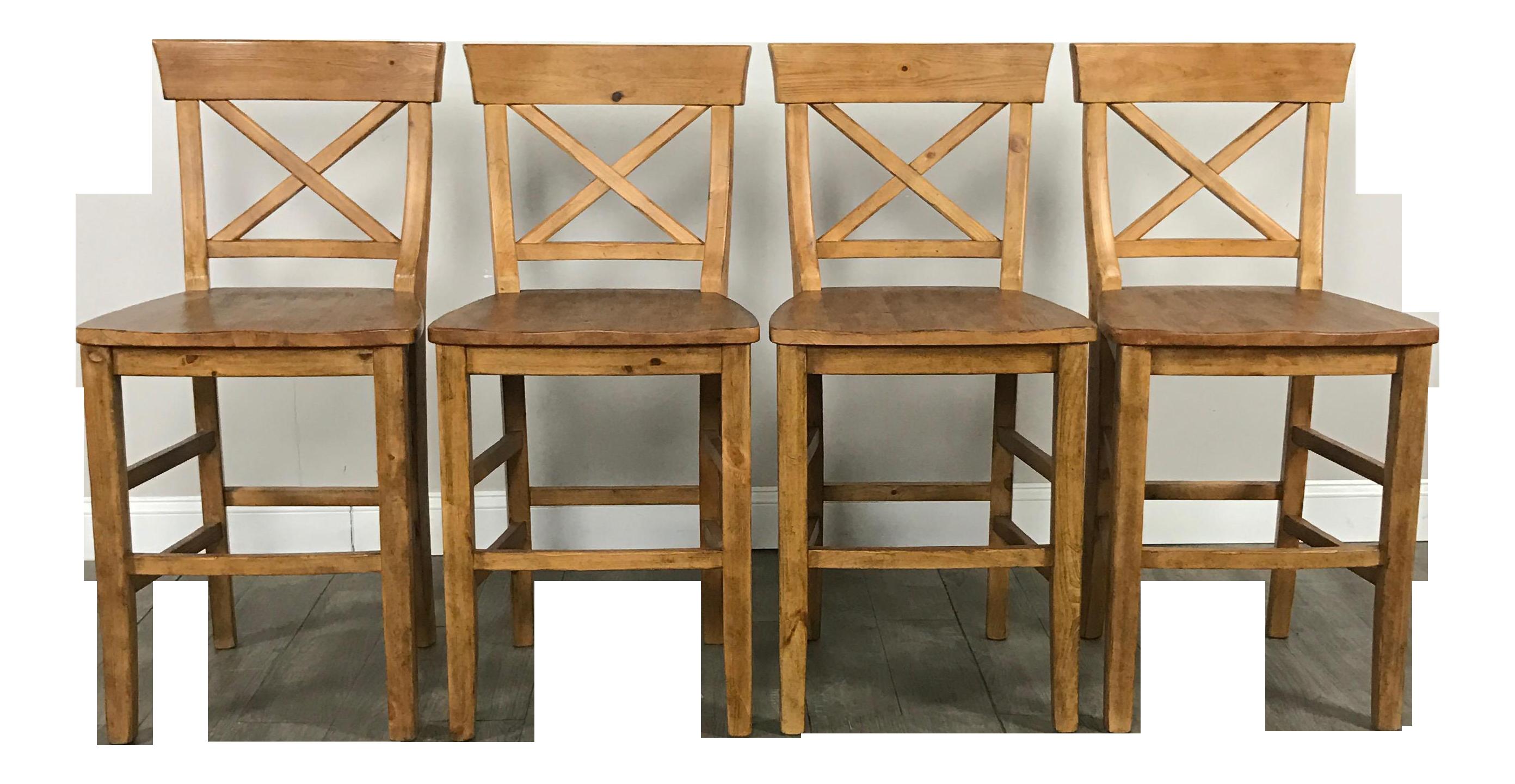 Rustic Pottery Barn Bar Stools Set Of 4 Chairish