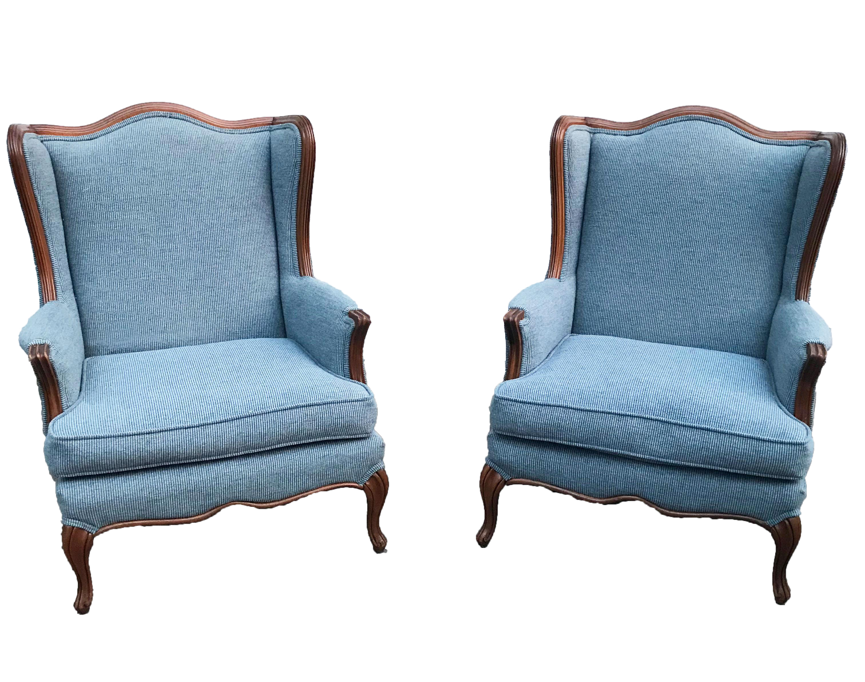 Vintage Light Blue Upholstered Bergere Chairs A Pair