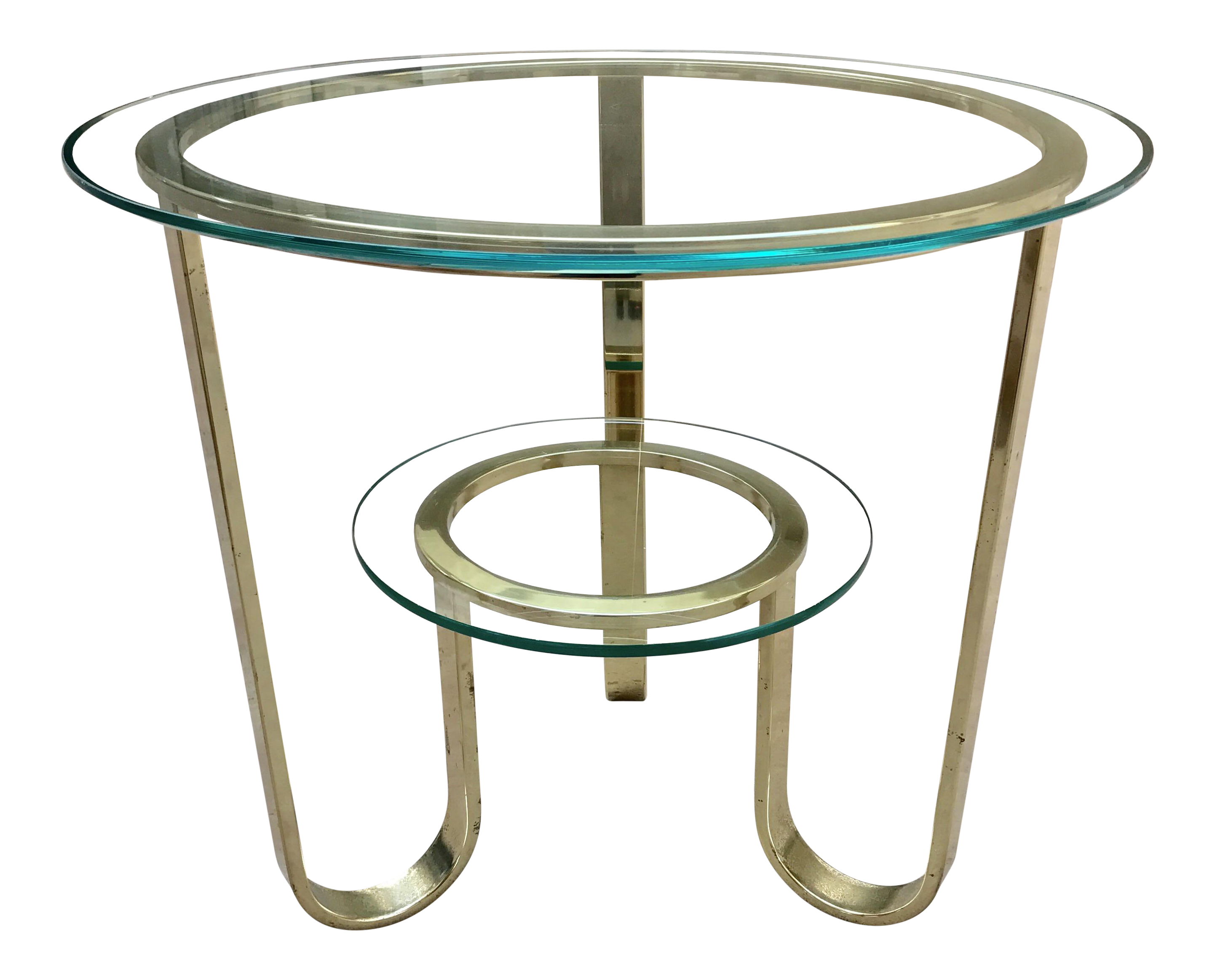 Milo Baughman for DIA Brass & Glass Accent Table