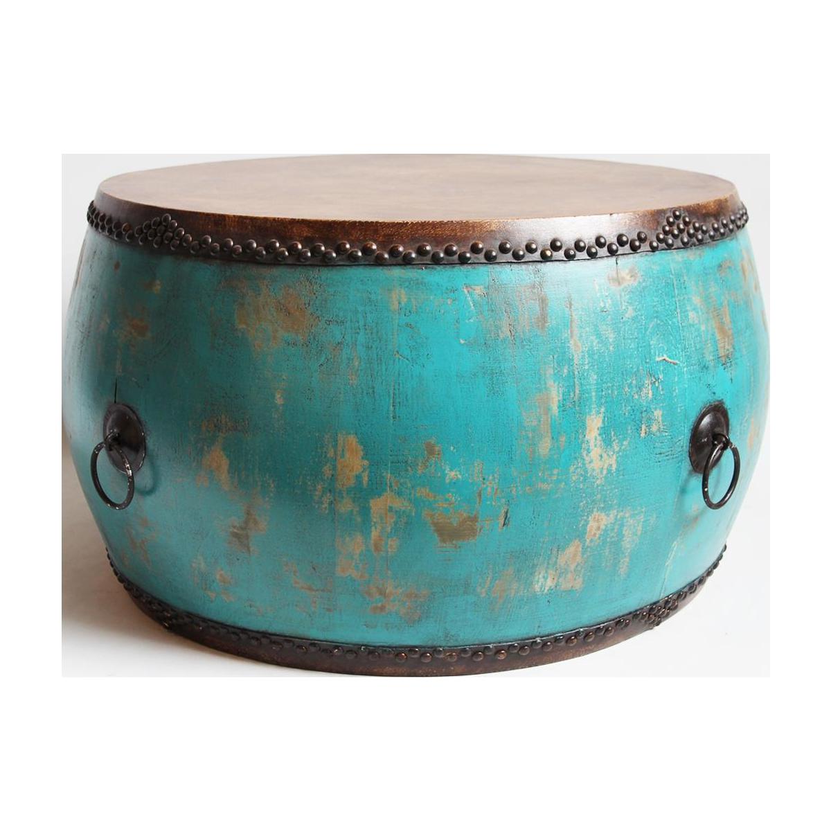 Turquoise Drum Coffee Table Chairish