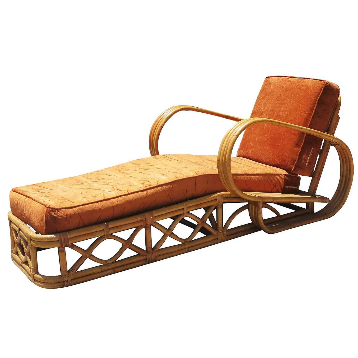Rattan four strand speed arm chaise lounge chairish for 2 arm chaise lounge