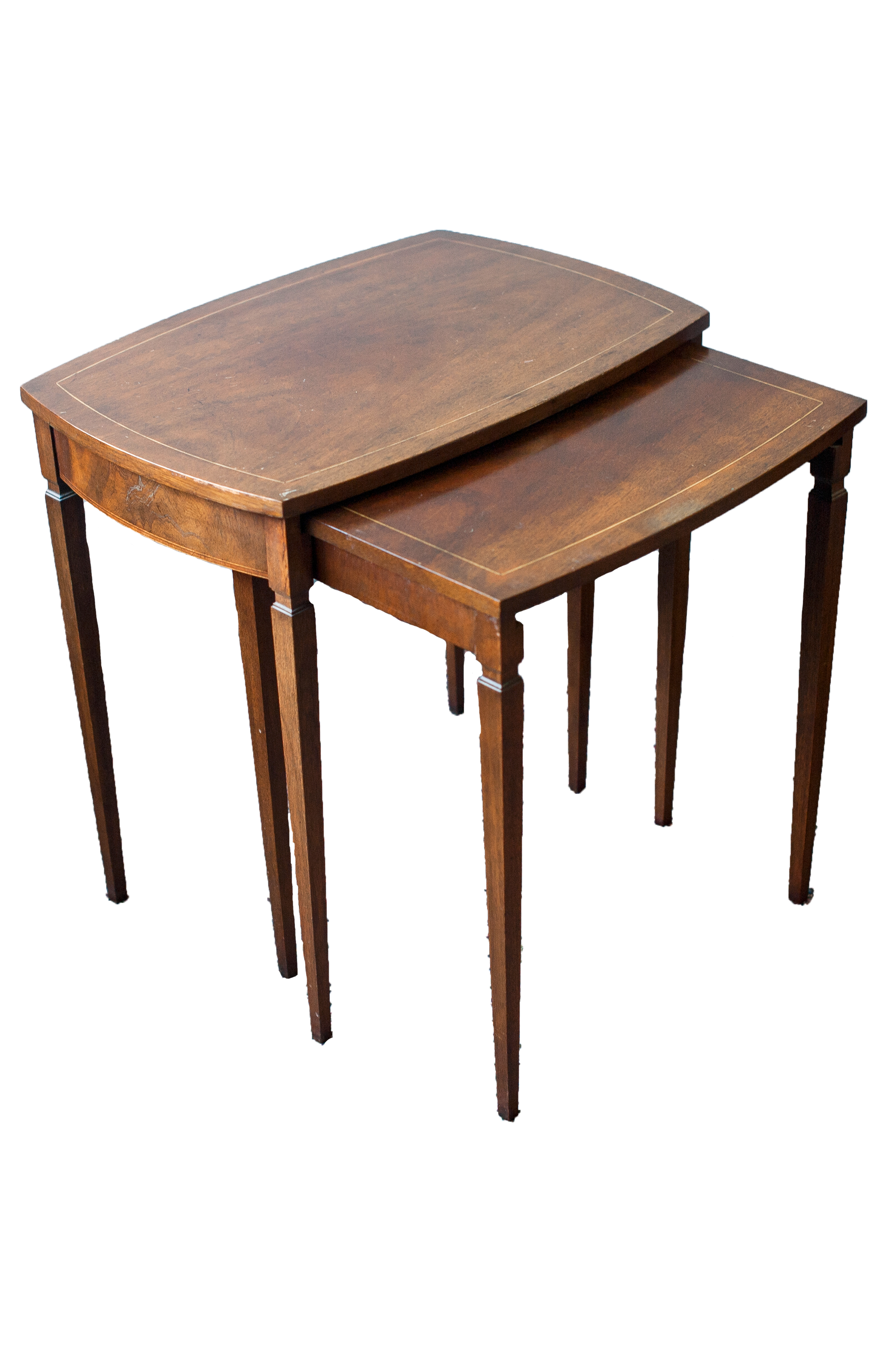 Baker Mid Century Walnut Nesting Tables A Pair Chairish. Full resolution  image, nominally Width 3300 Height 5100 pixels, image with #2D170E.