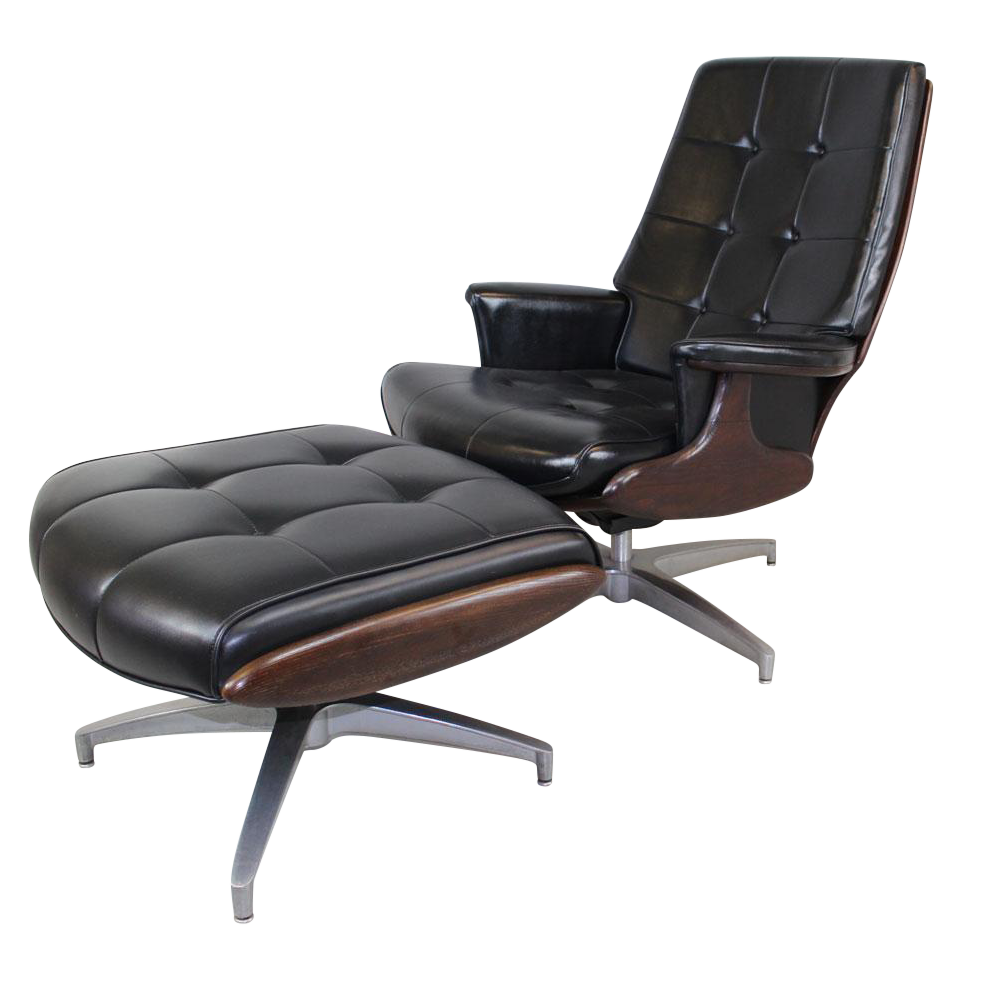 Heywood Wakefield Lounge Chair and Ottoman | Chairish