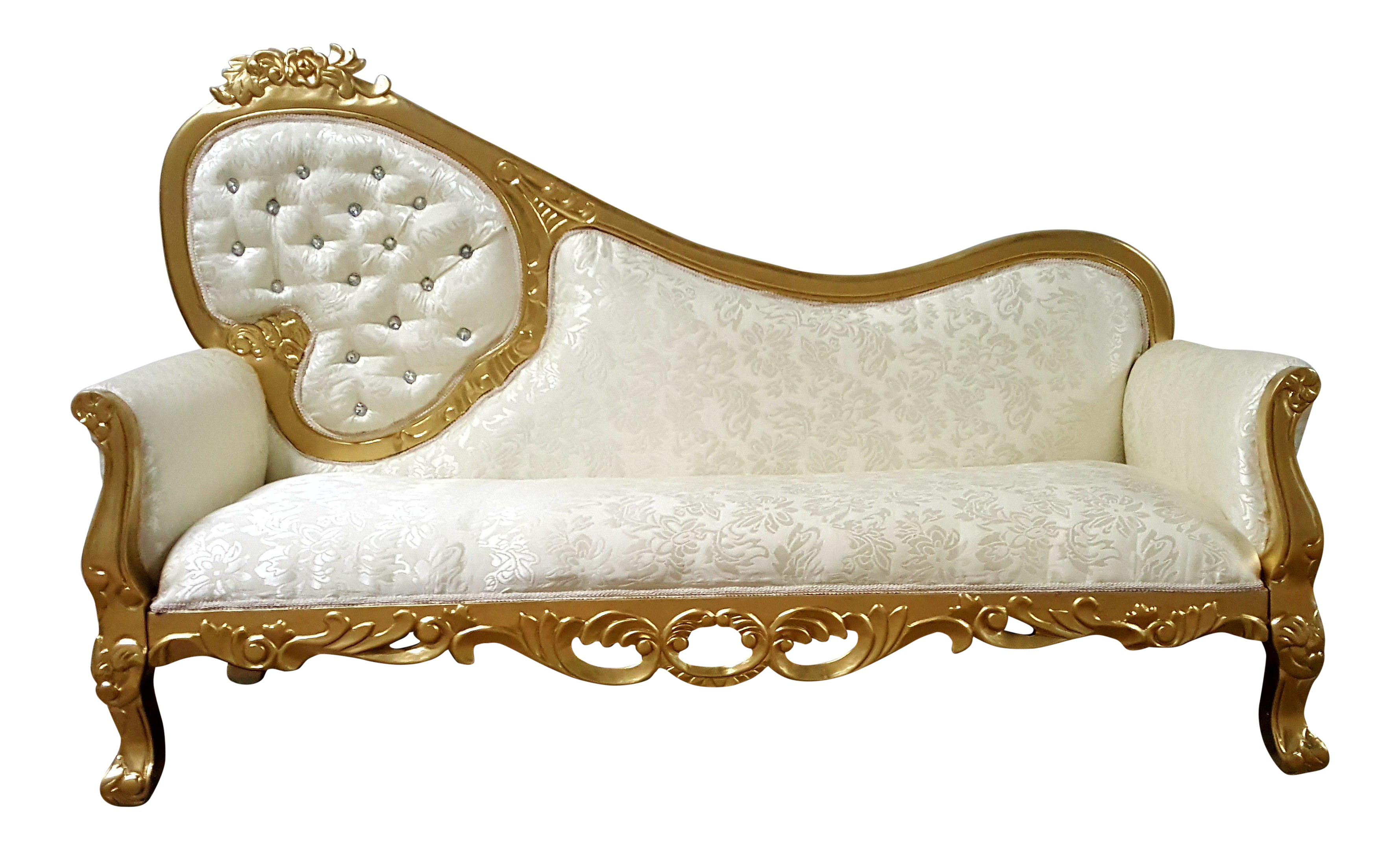 Vintage Gold & Ivory Tufted Chaise Lounge Sofa