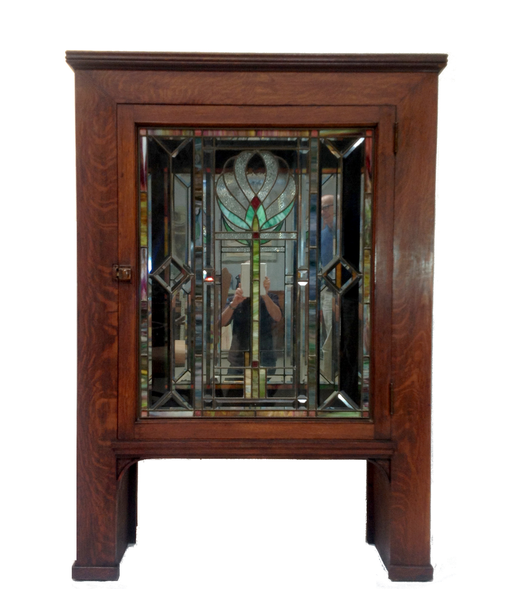 Antique stained glass doors - Image Of Antique Craftsman Cabinet With Stained Glass Door