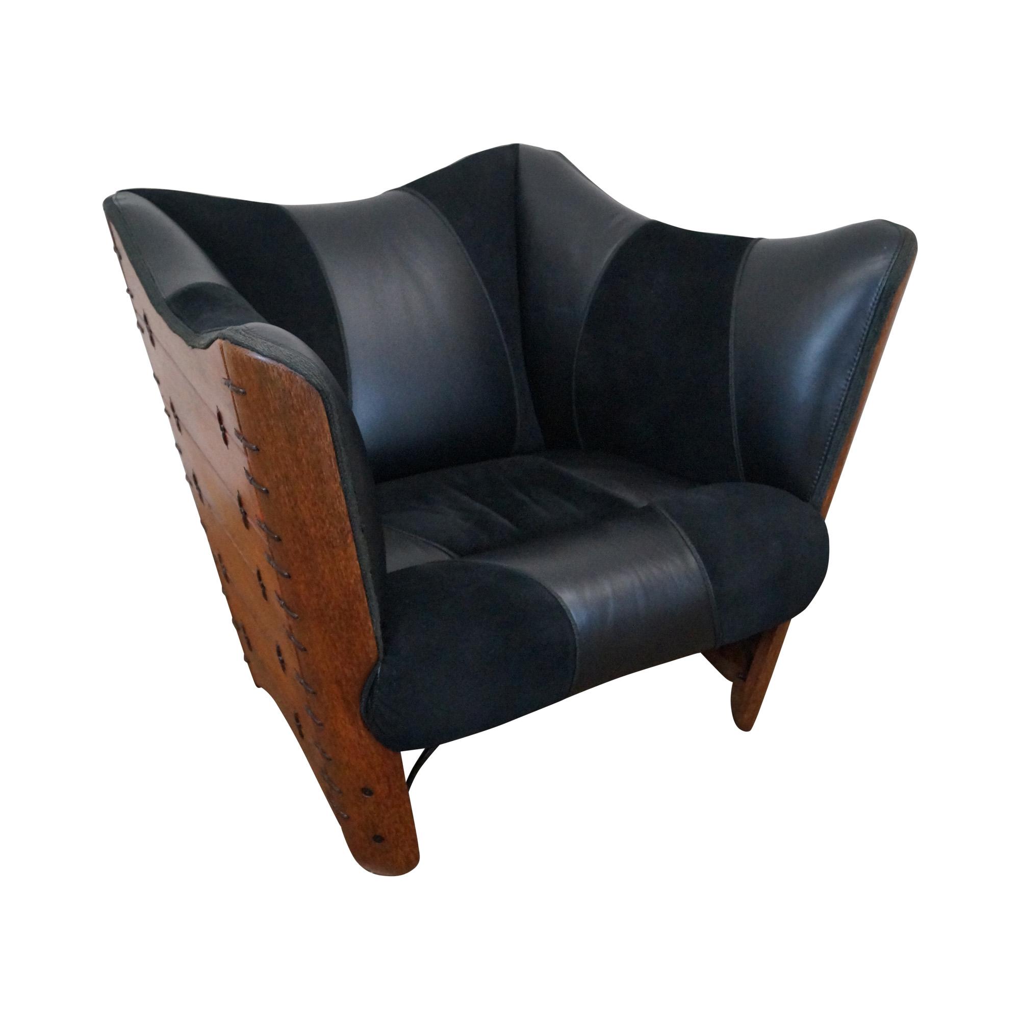 Brazilian Walnut Wing Lounge Chair Chairish