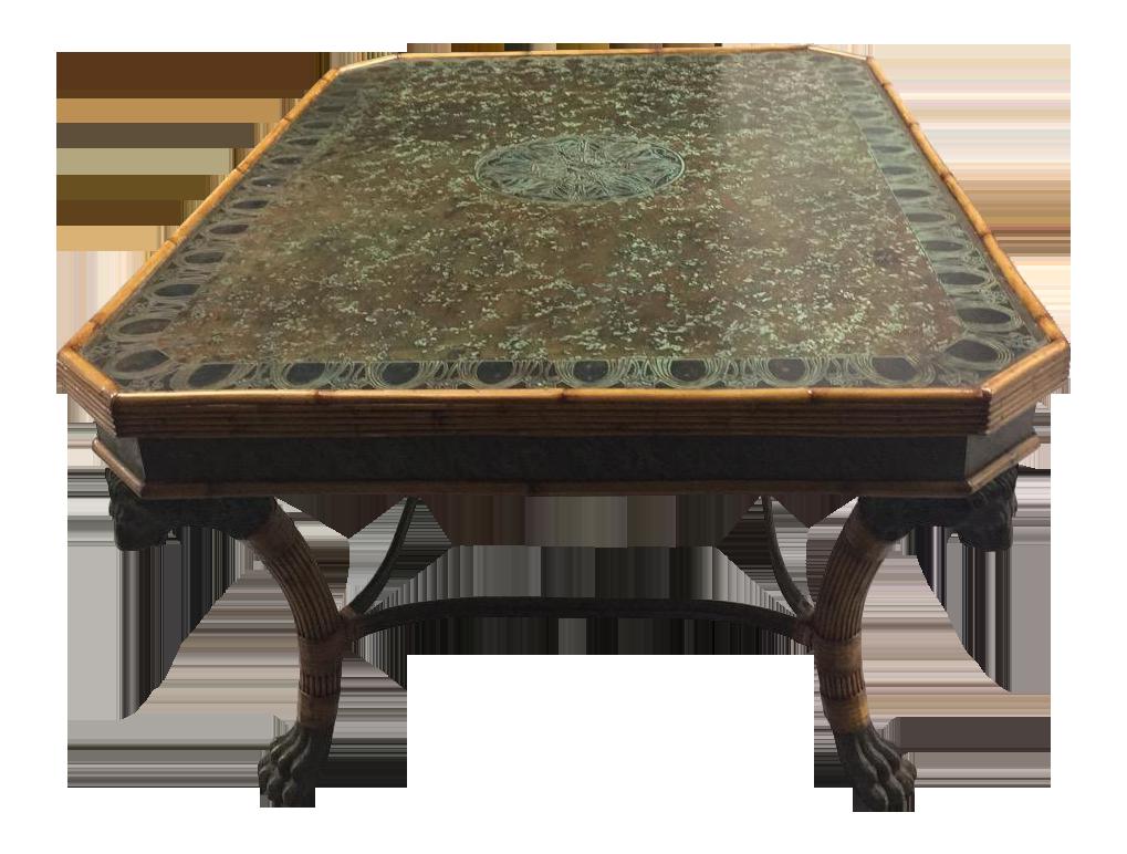 Maitland Smith Bronze Lion S Head Amp Rattan Table Chairish