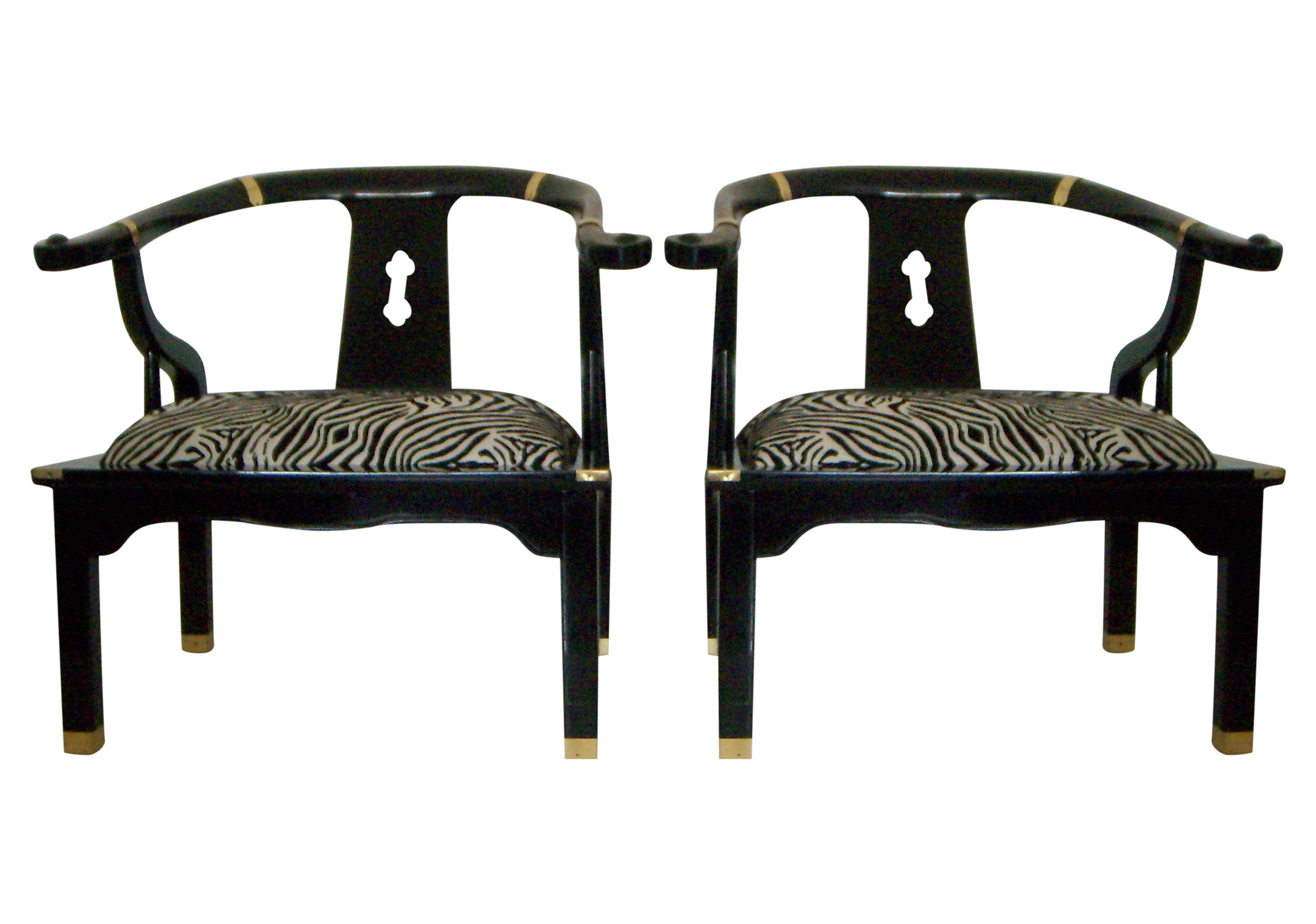 Black Lacquer Ming Style Zebra Arm Chairs A Pair