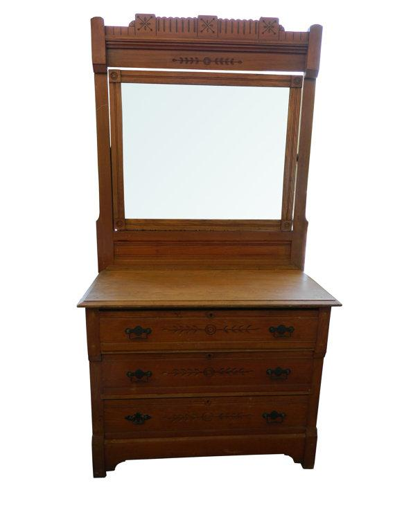 Classic antique eastlake dresser and mirror chairish for Storage eastlake