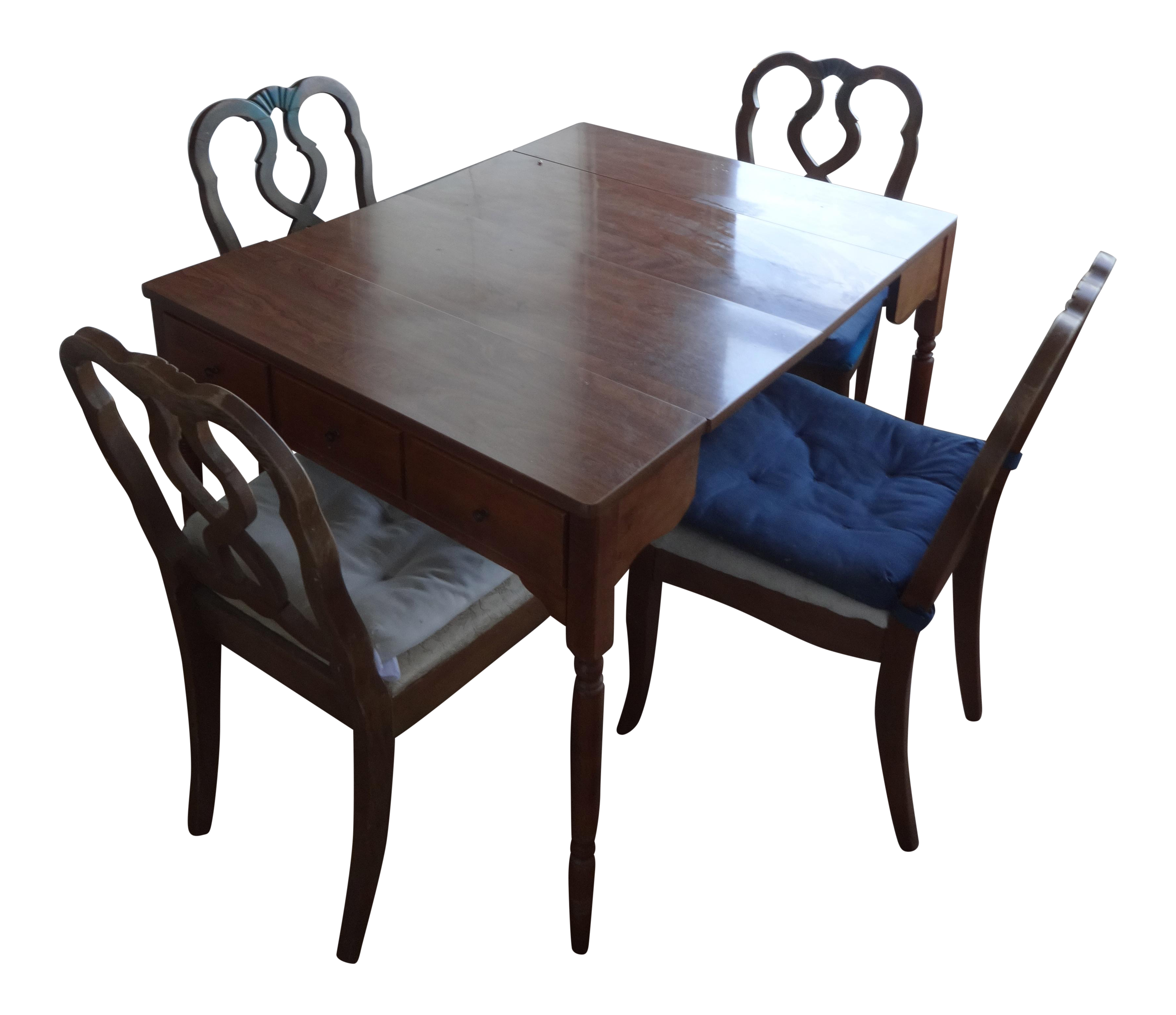 Vintage Ethan Allen Maple Dining Table With 4 Oak Chairs