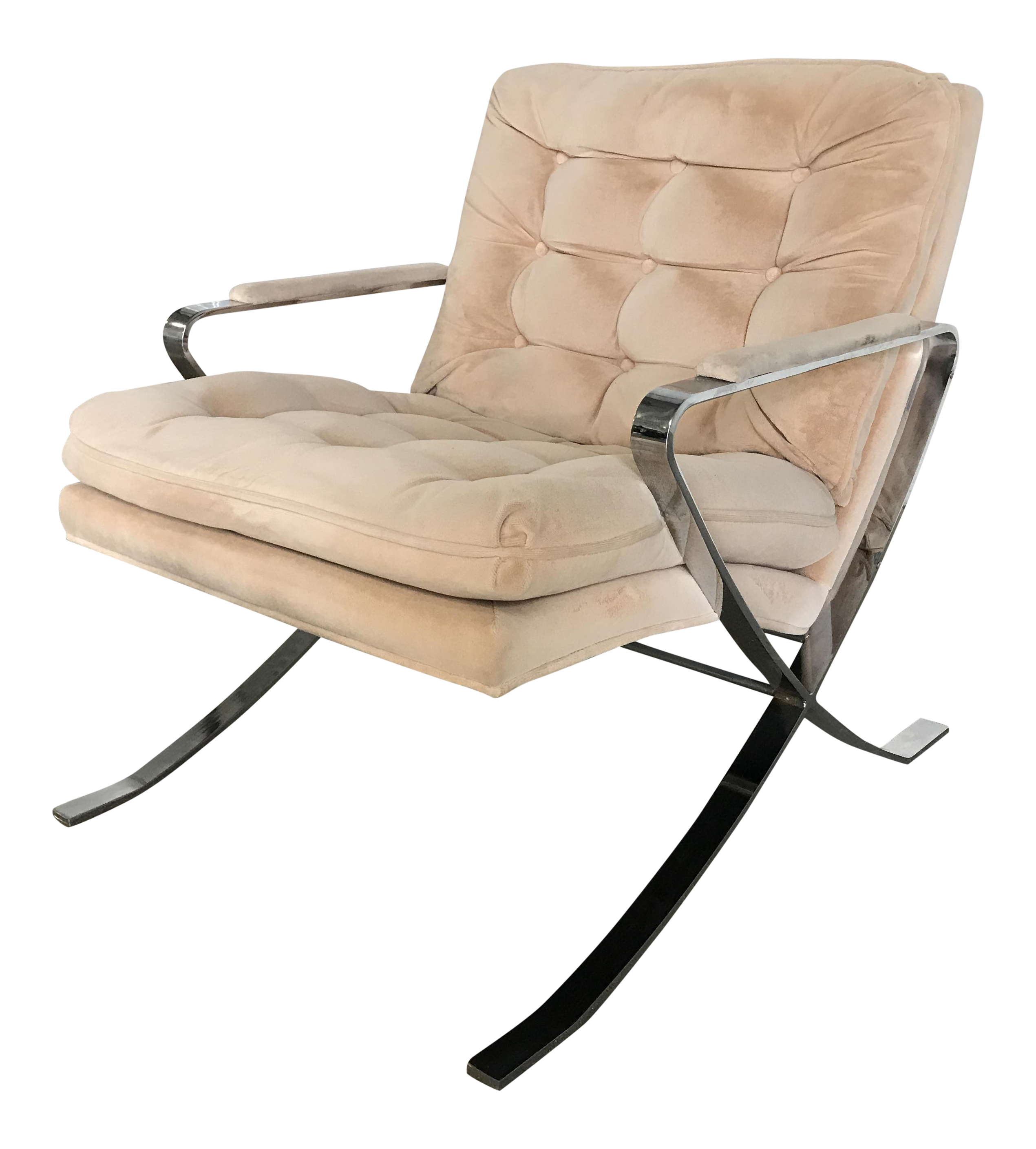 Vintage Bernhardt Chrome X Base Lounge Chair Chairish