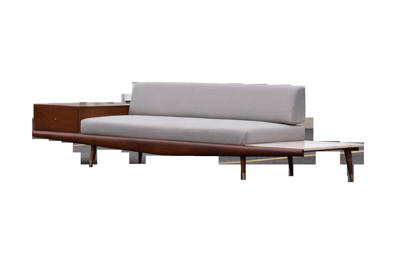 Adrian Pearsall Walnut and Travertine Sofa Chairish